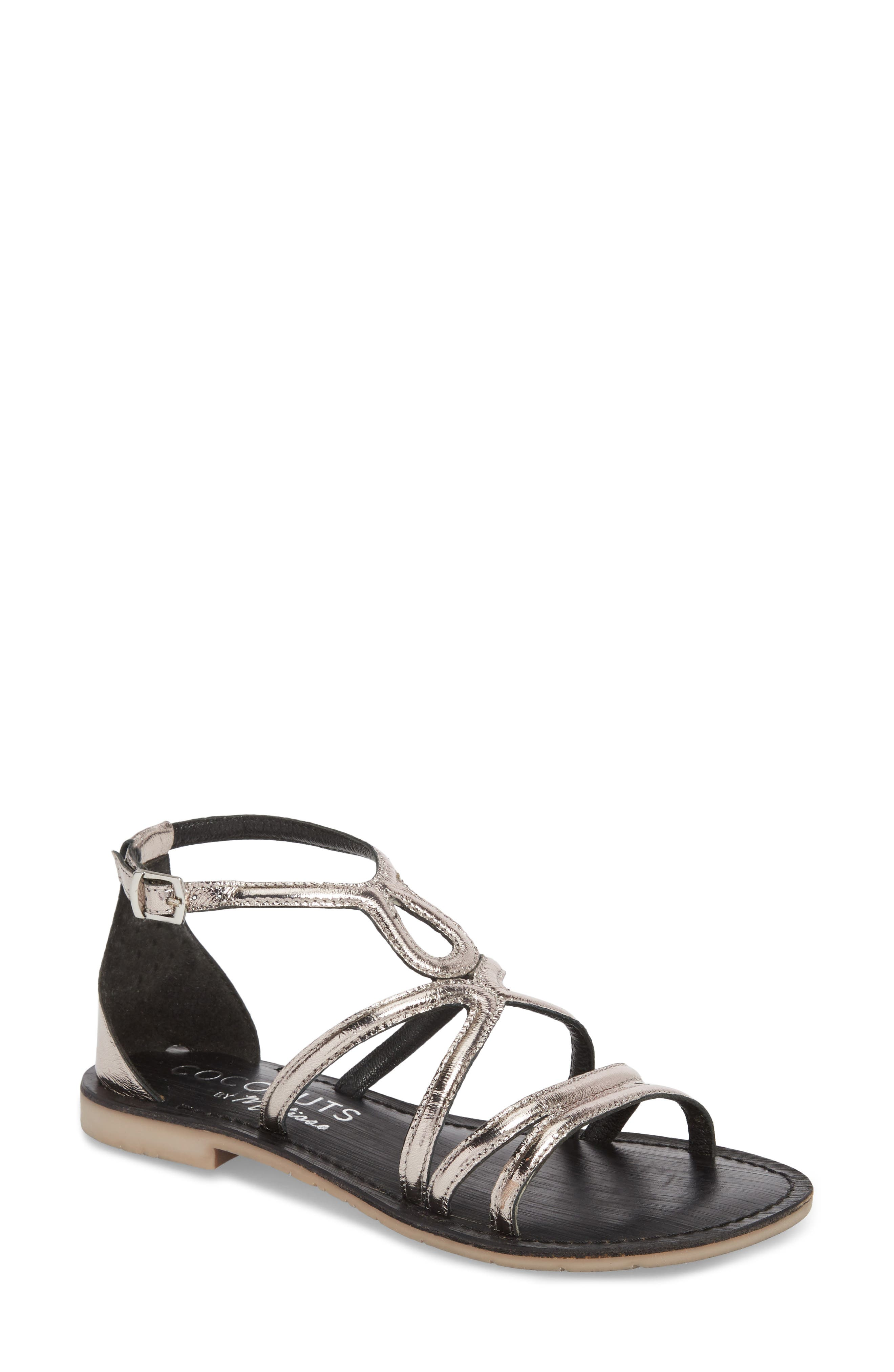 Palm Beach Metallic Sandal,                             Main thumbnail 1, color,                             Pewter Leather