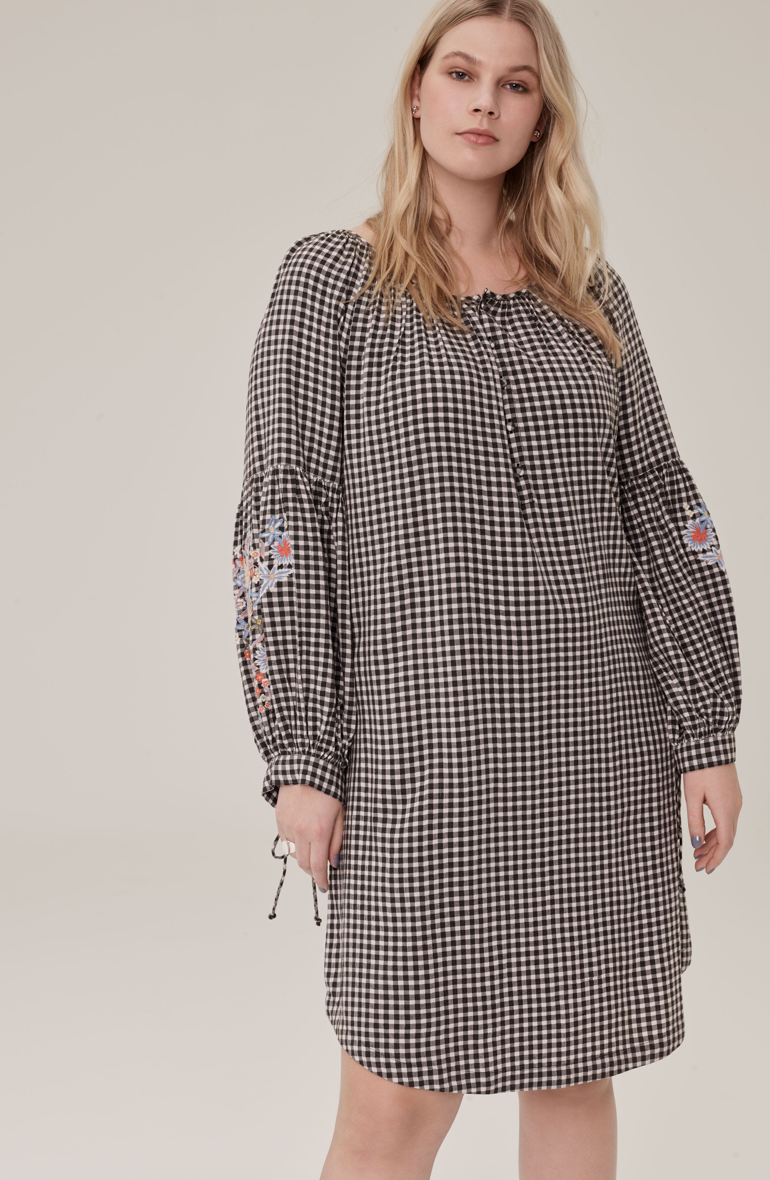 Embroidered Puff Sleeve Gingham Shift Dress,                             Alternate thumbnail 2, color,                             Black-White Gingham