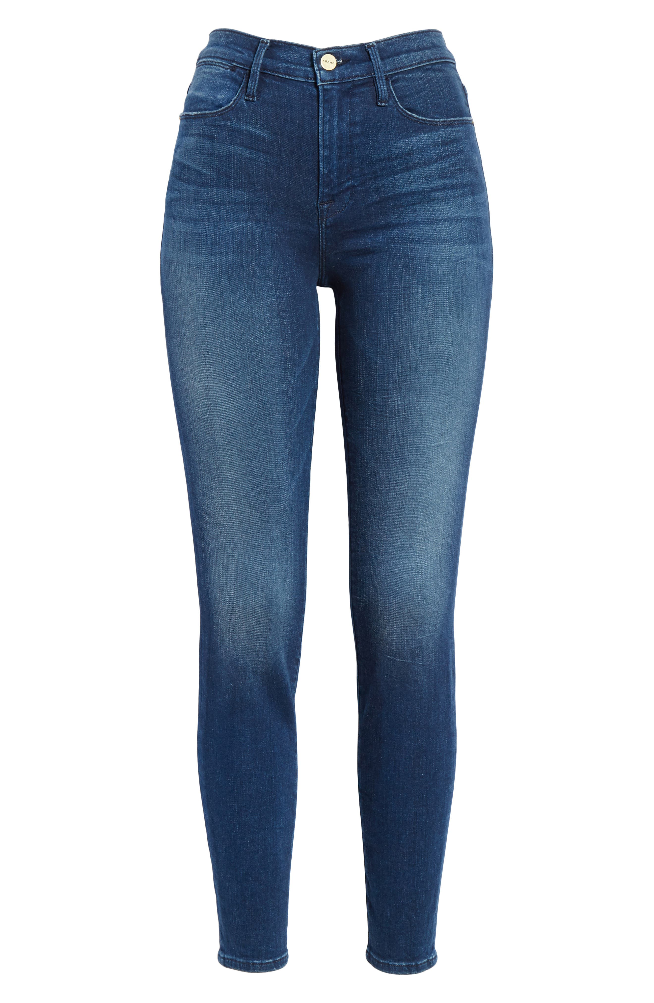 Le High Ankle Skinny Jeans,                             Alternate thumbnail 6, color,                             Silver Spring