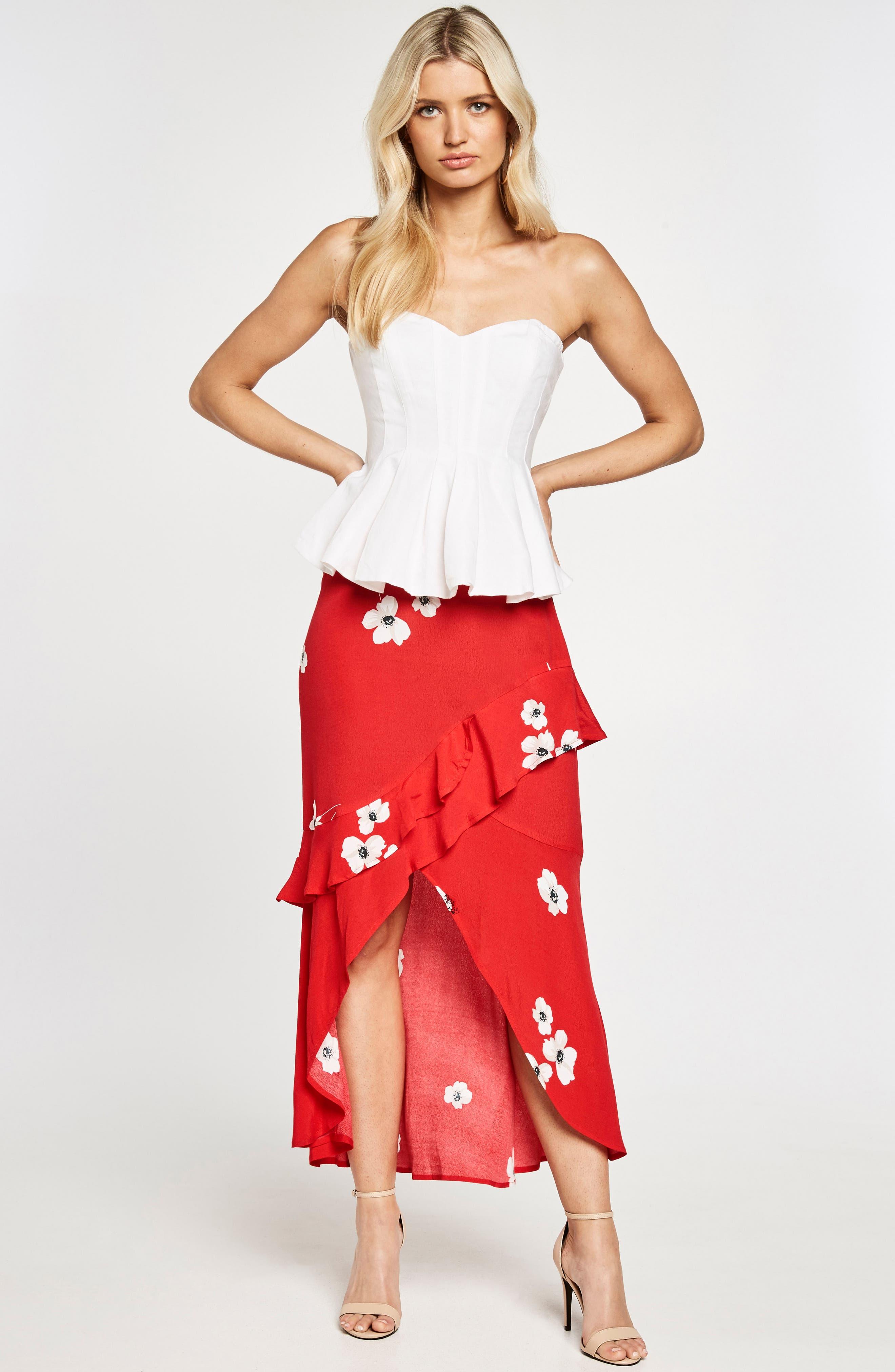 Freida Ruffle Skirt,                             Alternate thumbnail 5, color,                             Poppy