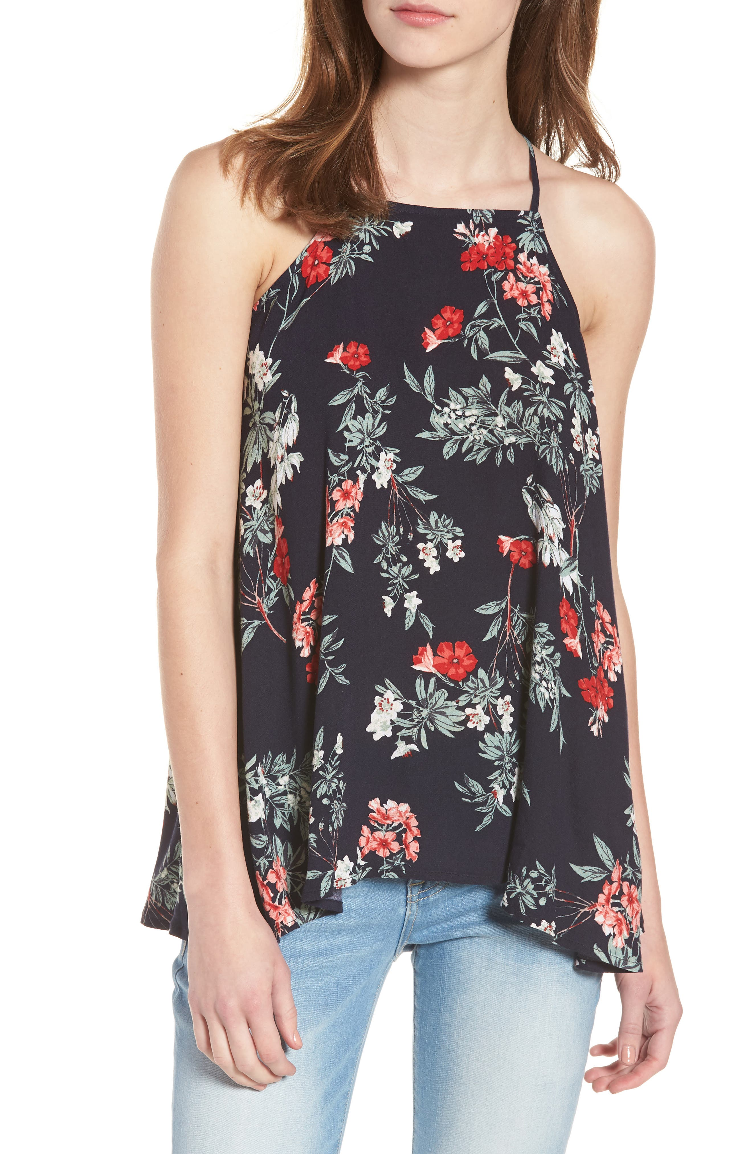 Floral Ruffle High/Low Tank,                             Main thumbnail 1, color,                             Navy Night Fresh Blooms