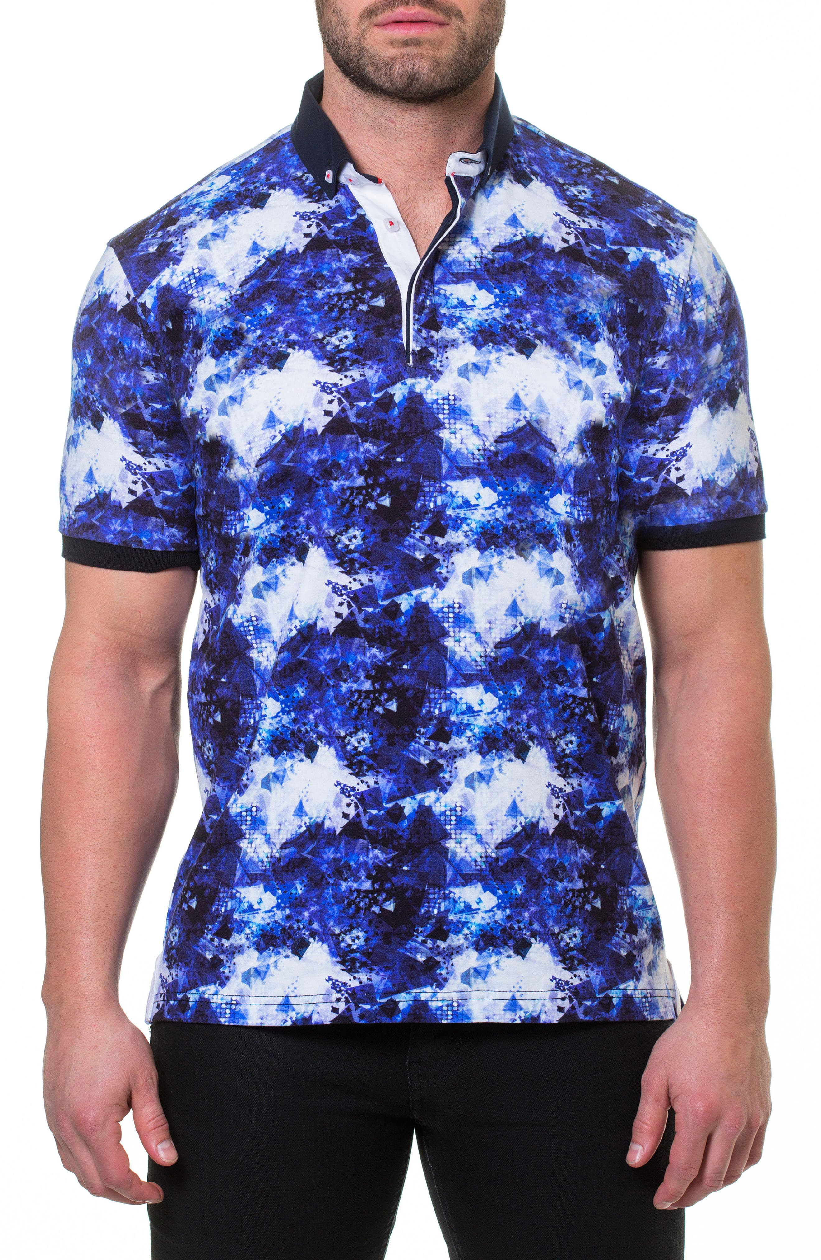 Shapes Print Polo,                         Main,                         color, Blue