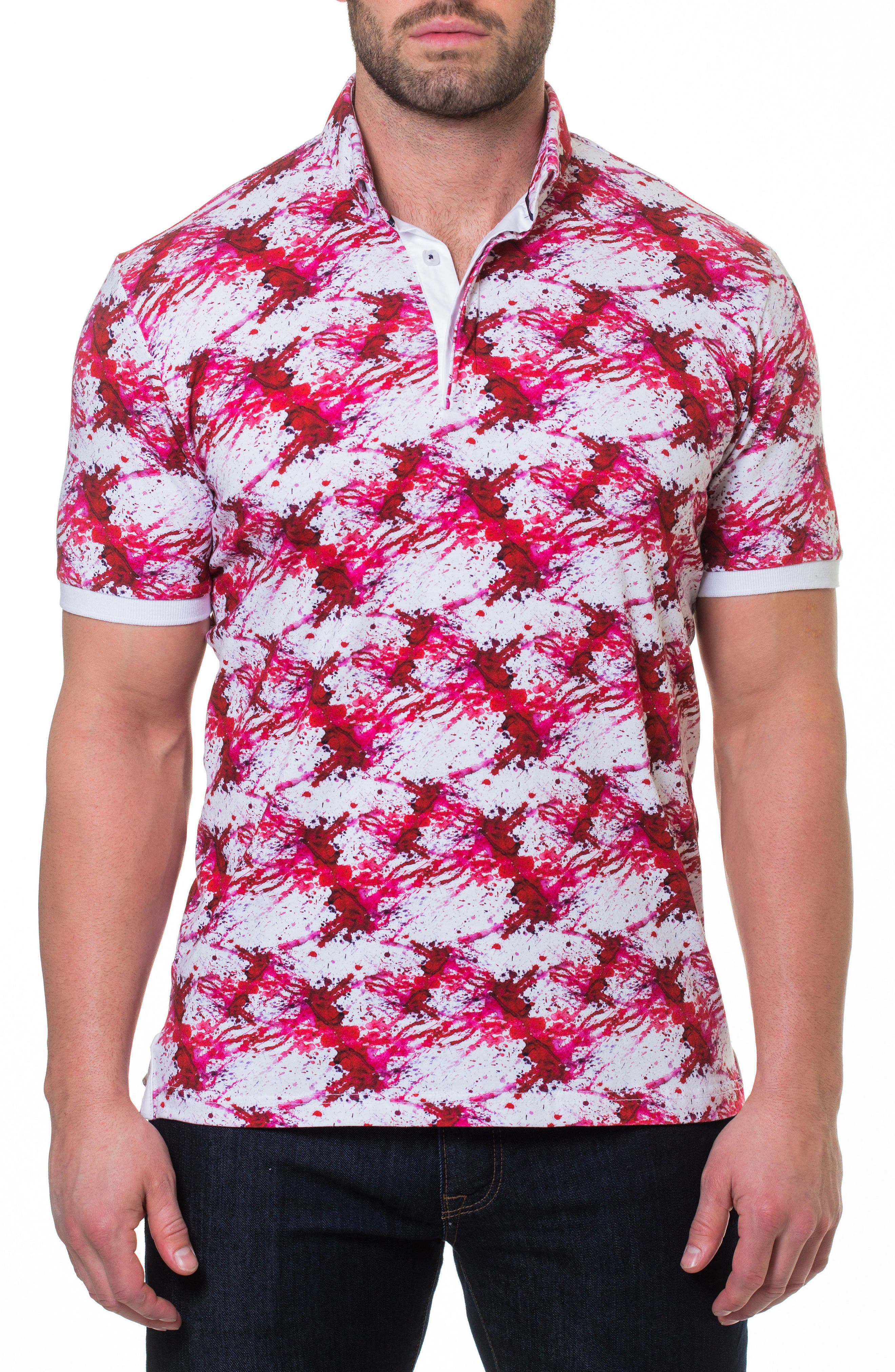 Dexter Print Polo,                             Main thumbnail 1, color,                             Red
