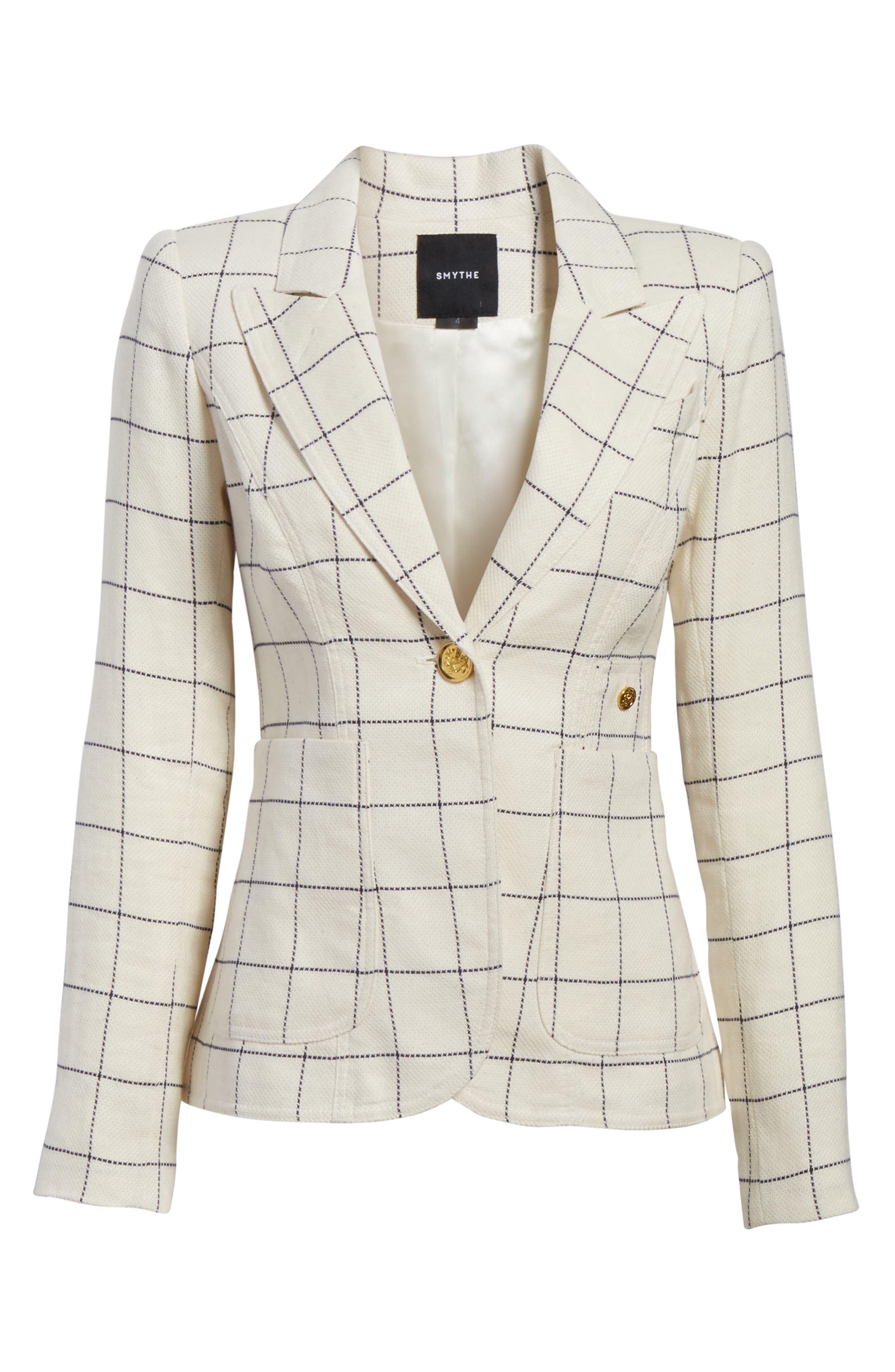 Duchess Elbow Patch Linen Blend Blazer,                             Alternate thumbnail 6, color,                             Gatsby Windowpane