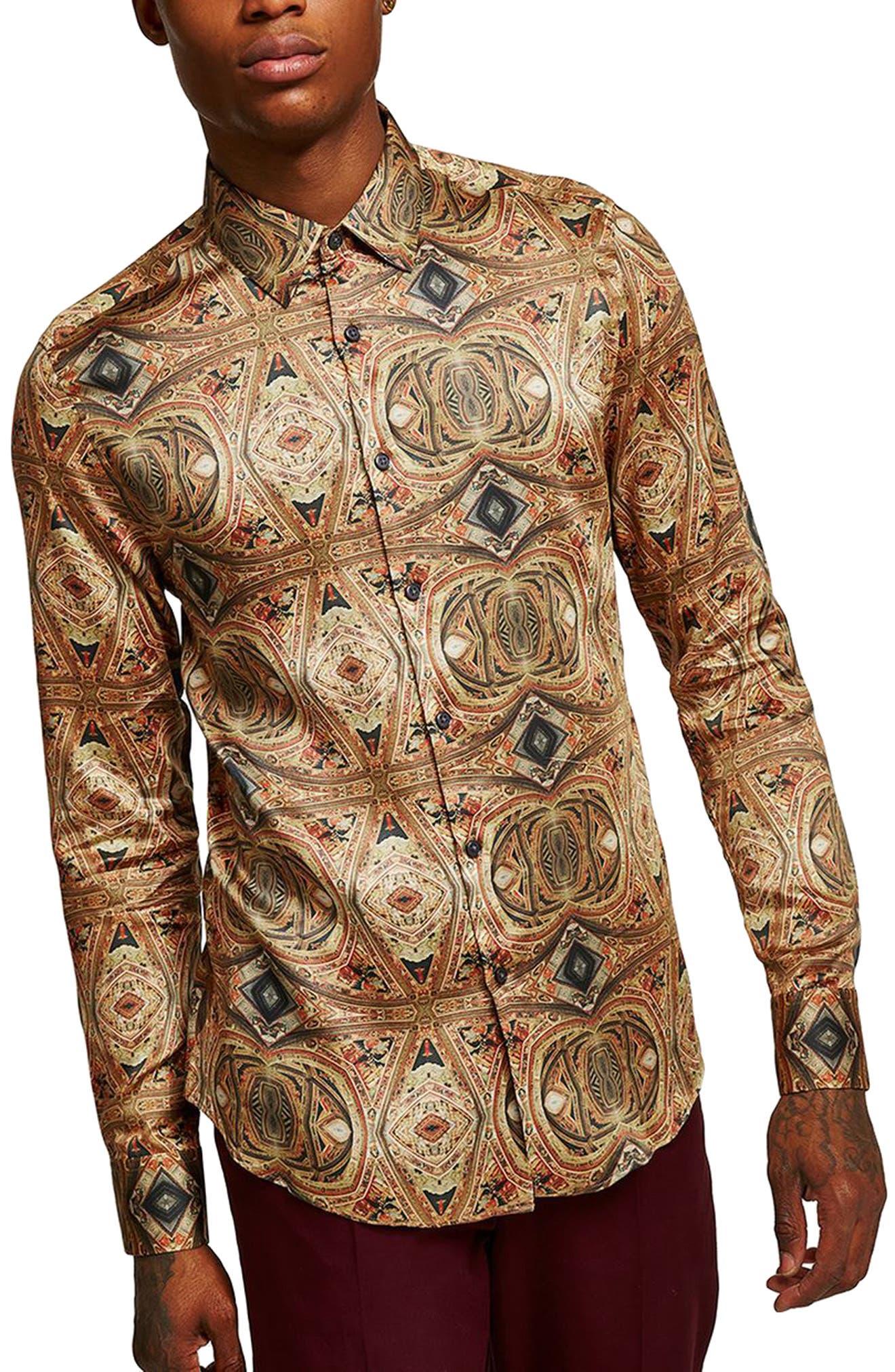Print Shirt,                         Main,                         color, Brown Multi
