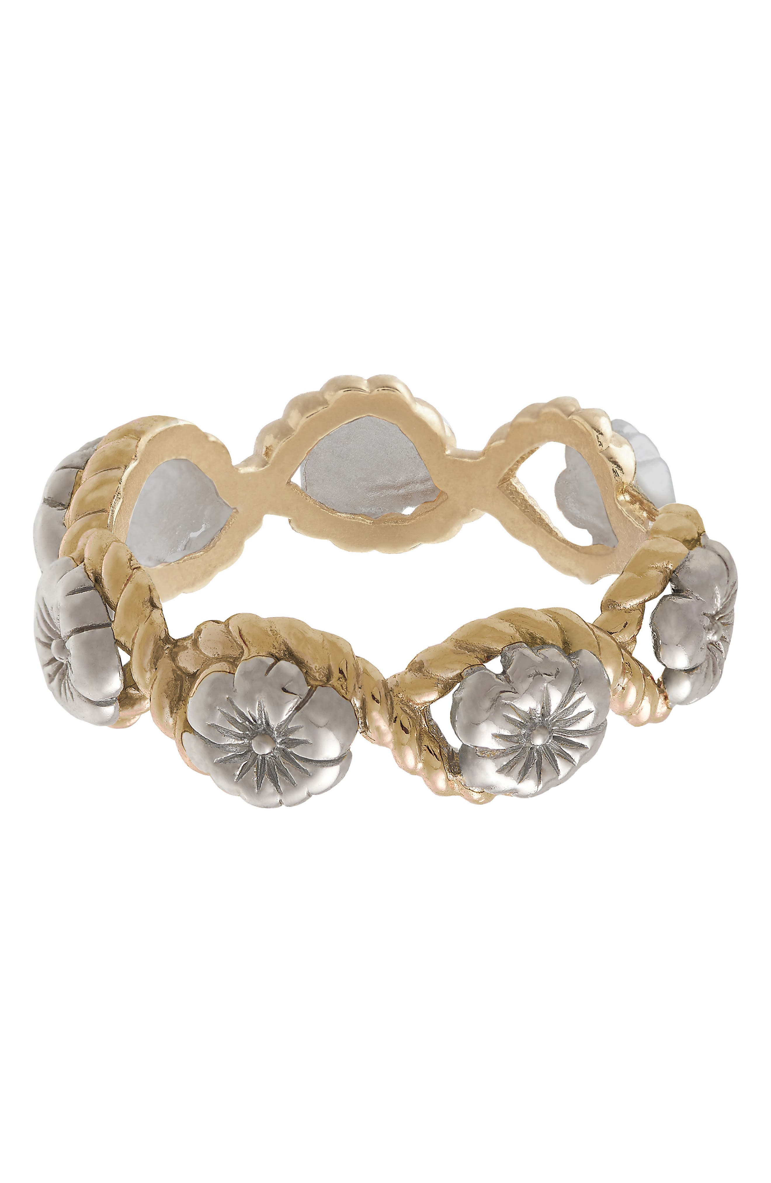 Flower Show Rope Ring, Silver / Gold