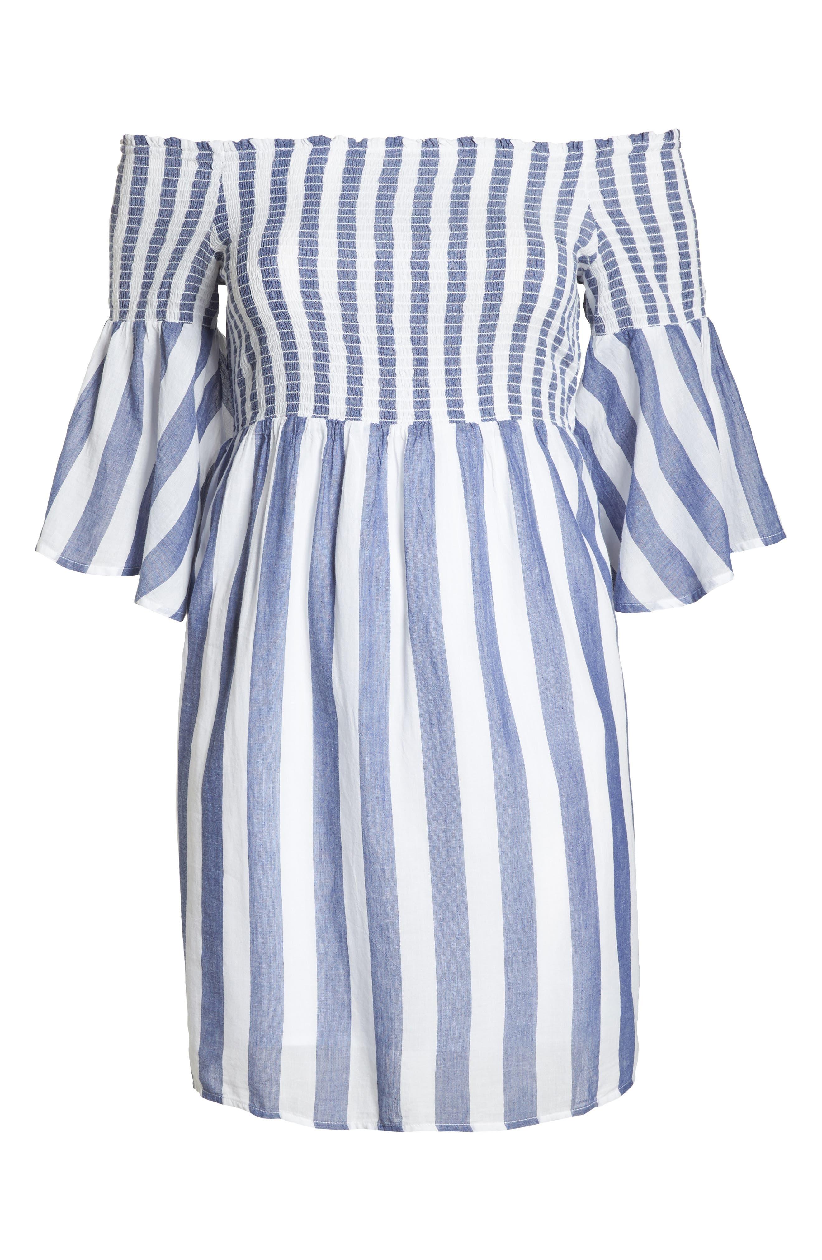 Off the Shoulder Stripe Smocked Dress,                             Alternate thumbnail 7, color,                             Blue Multi
