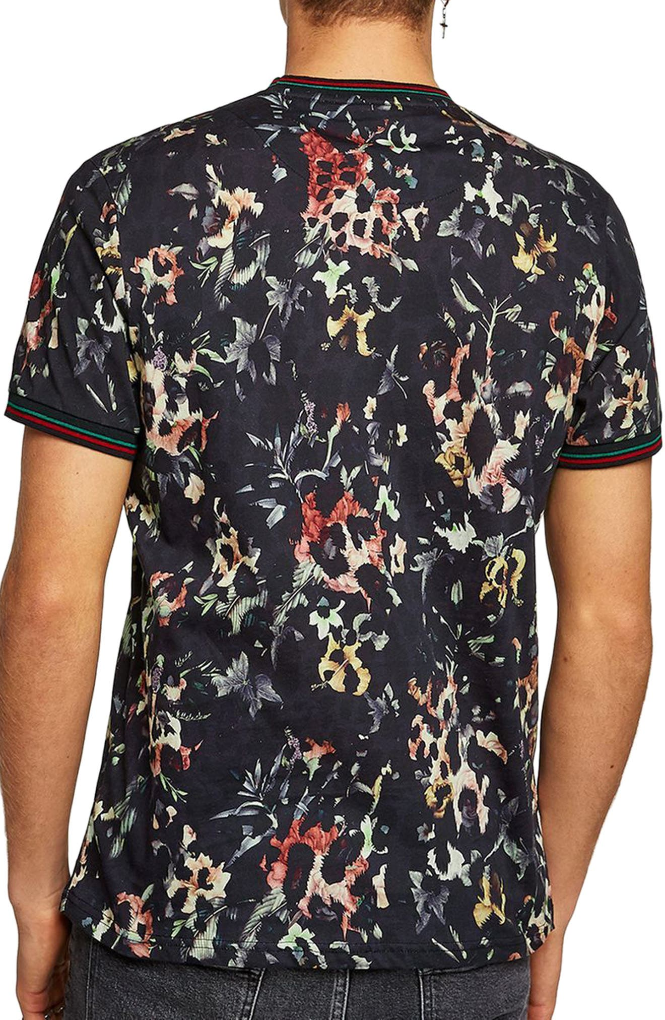 Floral Leopard Print T-Shirt,                             Alternate thumbnail 2, color,                             Black Multi