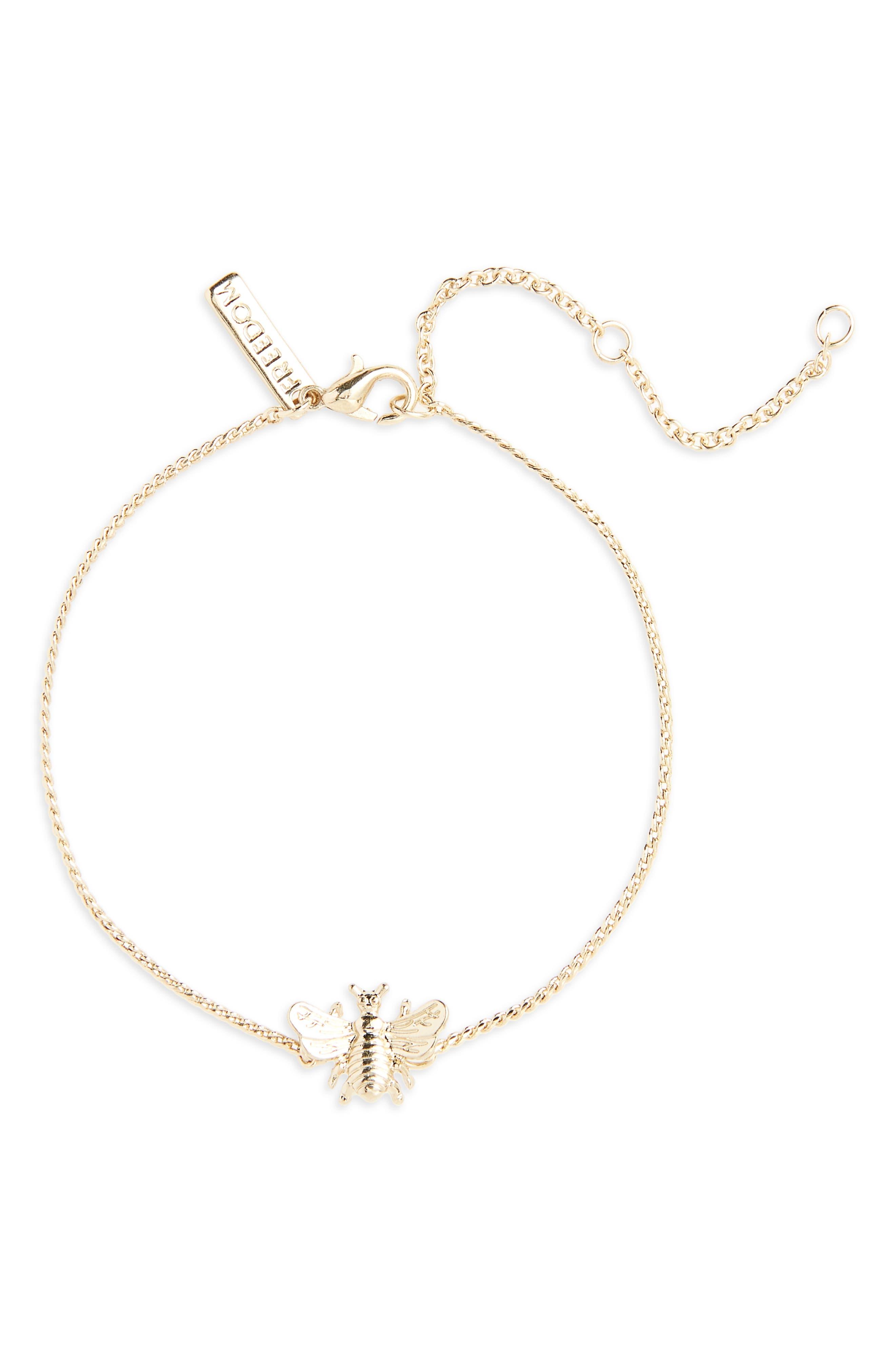 Bee Fine Chain Bracelet,                         Main,                         color, Gold