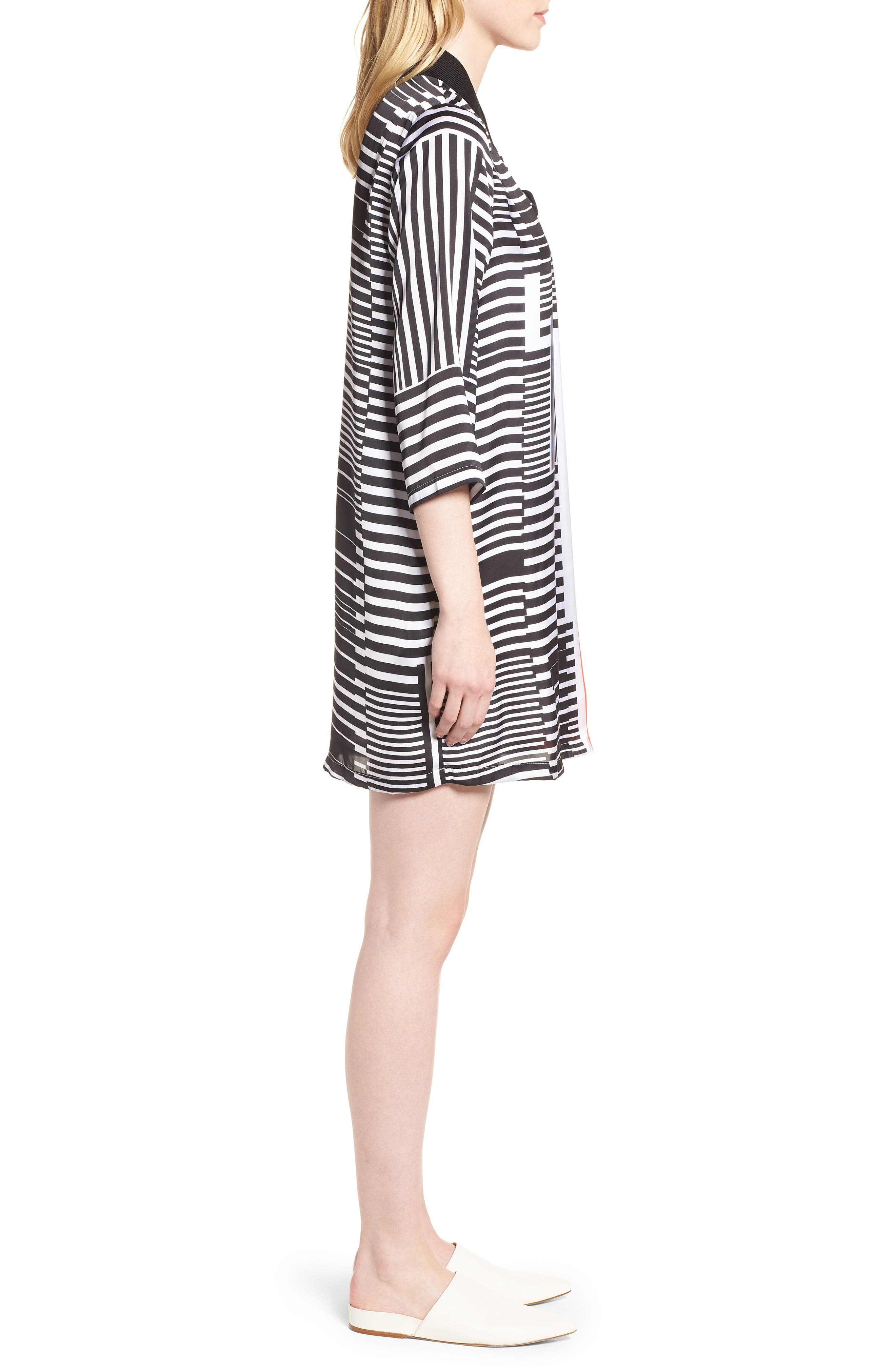 Mix Stripe V-Neck Shift Dress,                             Alternate thumbnail 3, color,                             Pop Red