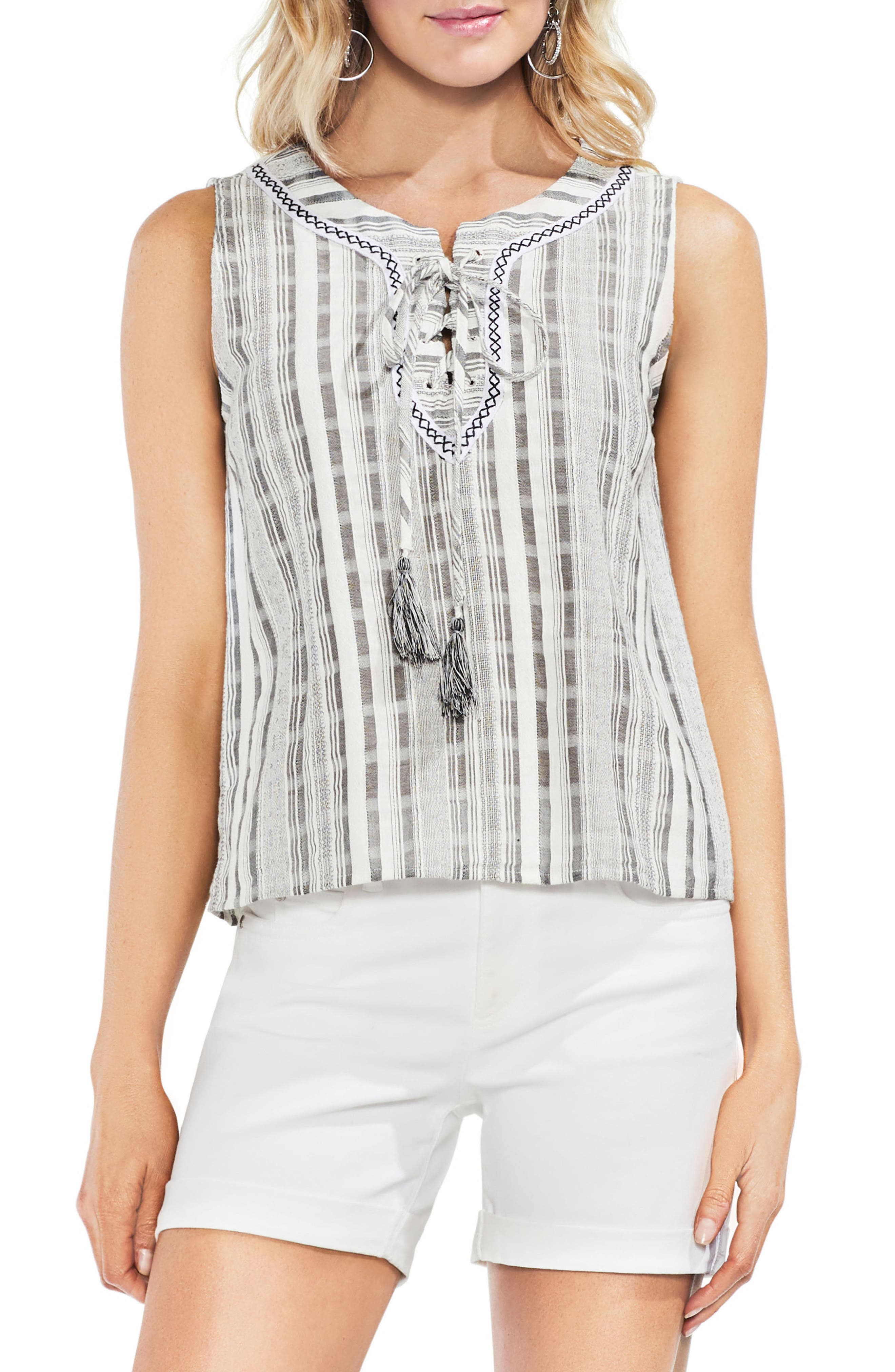 Striped Sleeveless Lace-Up Top,                             Main thumbnail 1, color,                             New Ivory
