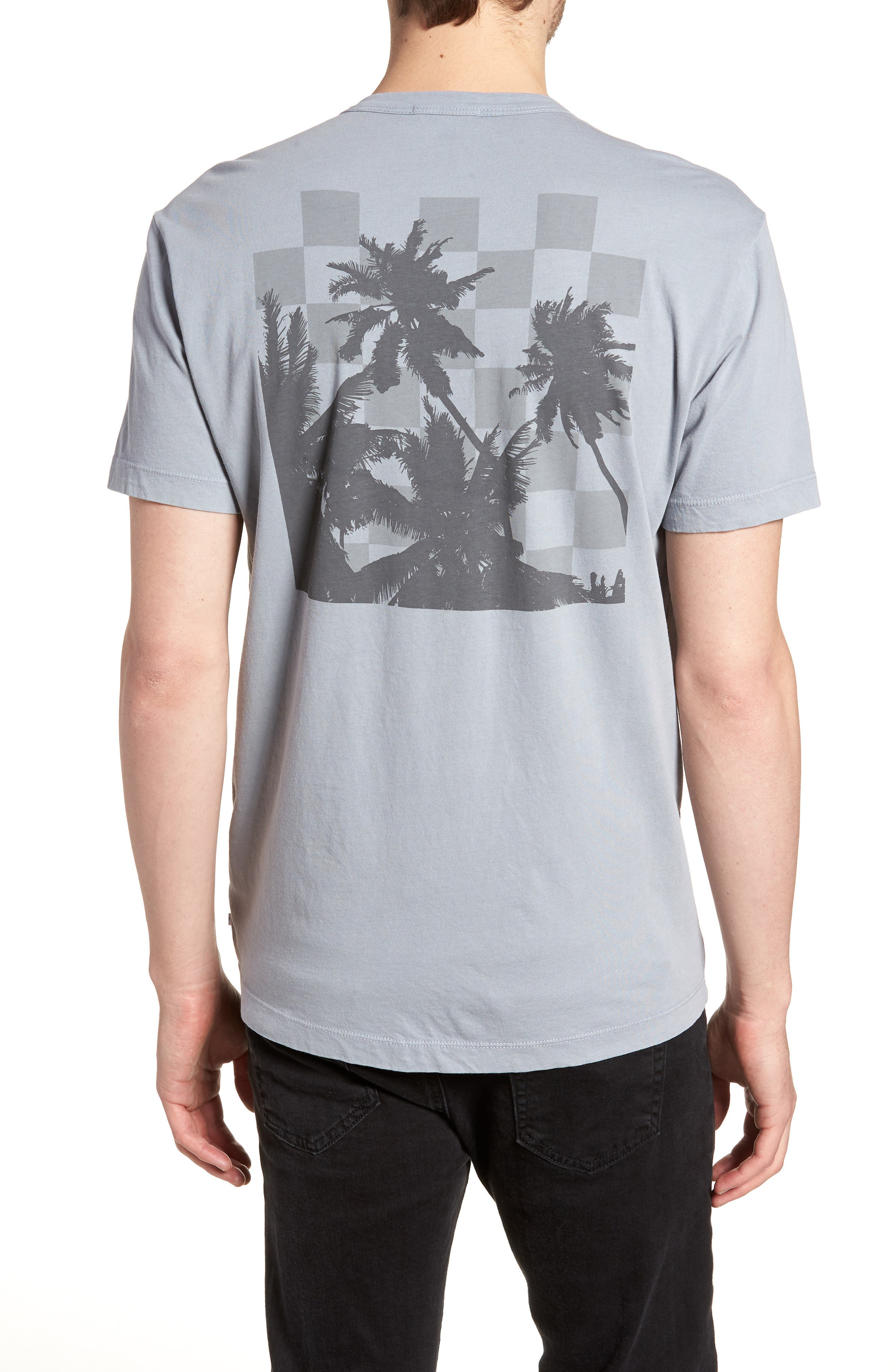 Checkerboard Crewneck T-Shirt,                             Alternate thumbnail 2, color,                             Grey Sky Pigment