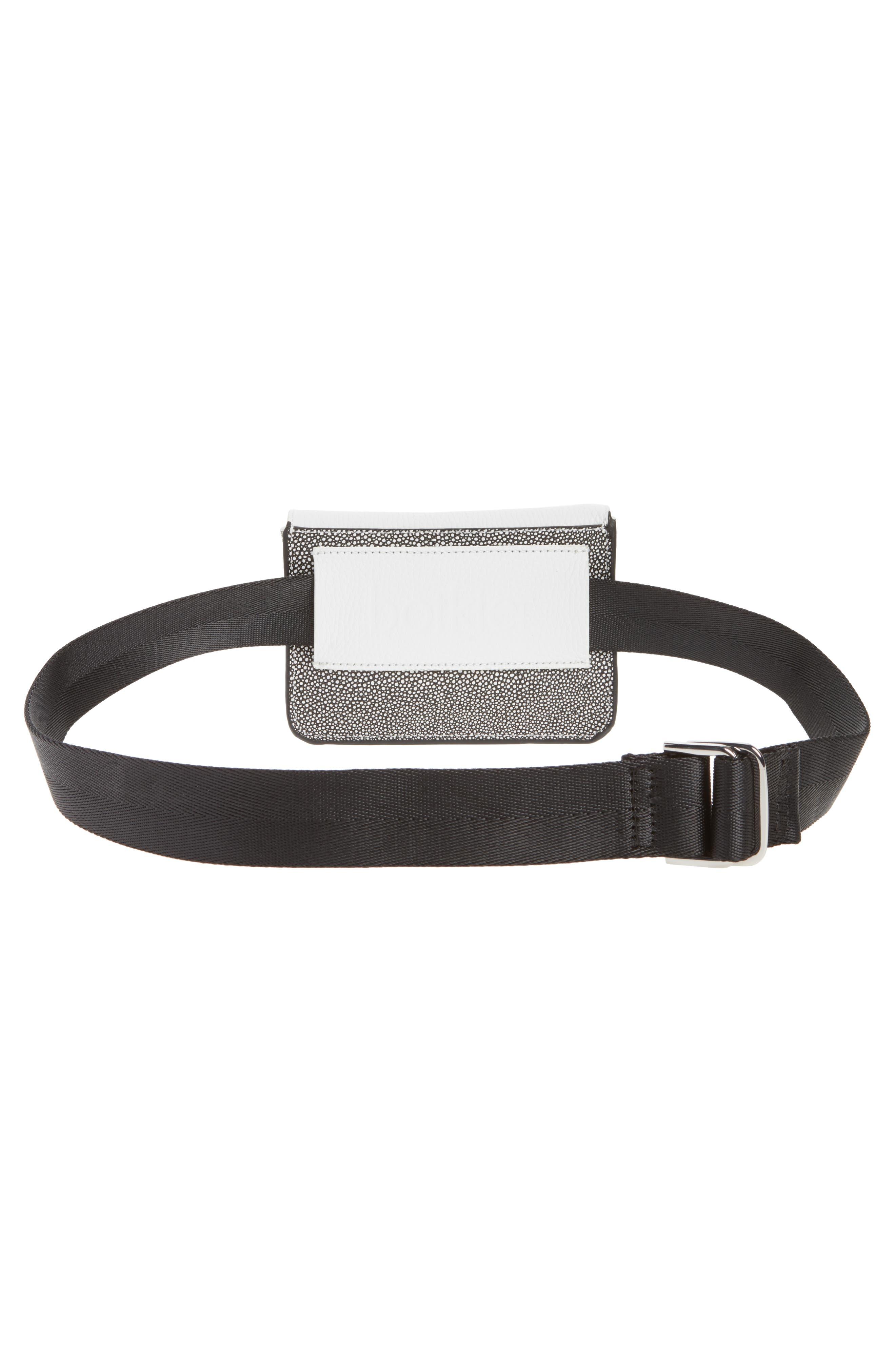 Vivi Calfskin Leather Convertible Belt Bag,                             Alternate thumbnail 5, color,                             Chalk Stingray