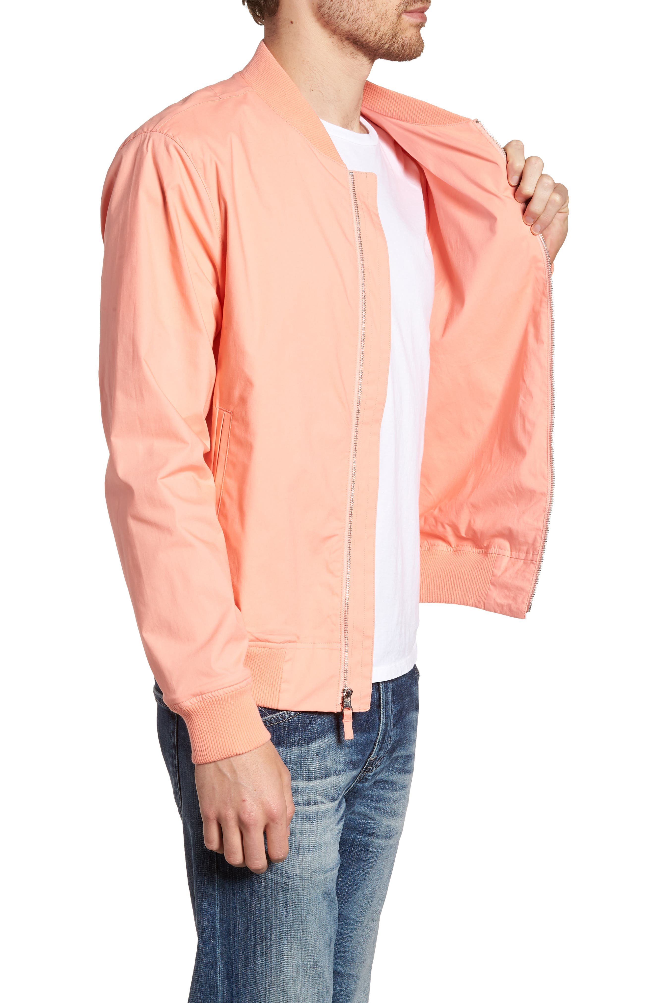 Stretch Bomber Jacket,                             Alternate thumbnail 3, color,                             Solid - Peach