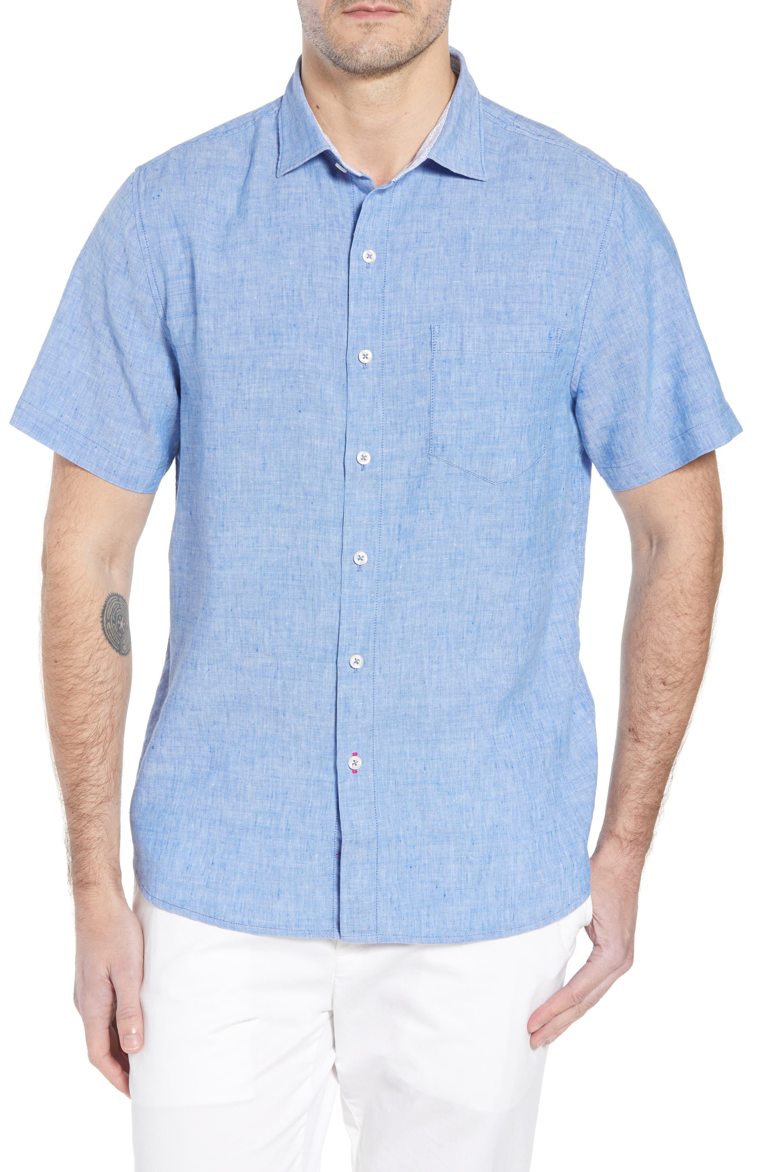 Lanai Tides Linen Blend Sport Shirt,                             Main thumbnail 1, color,                             Cobalt Sea