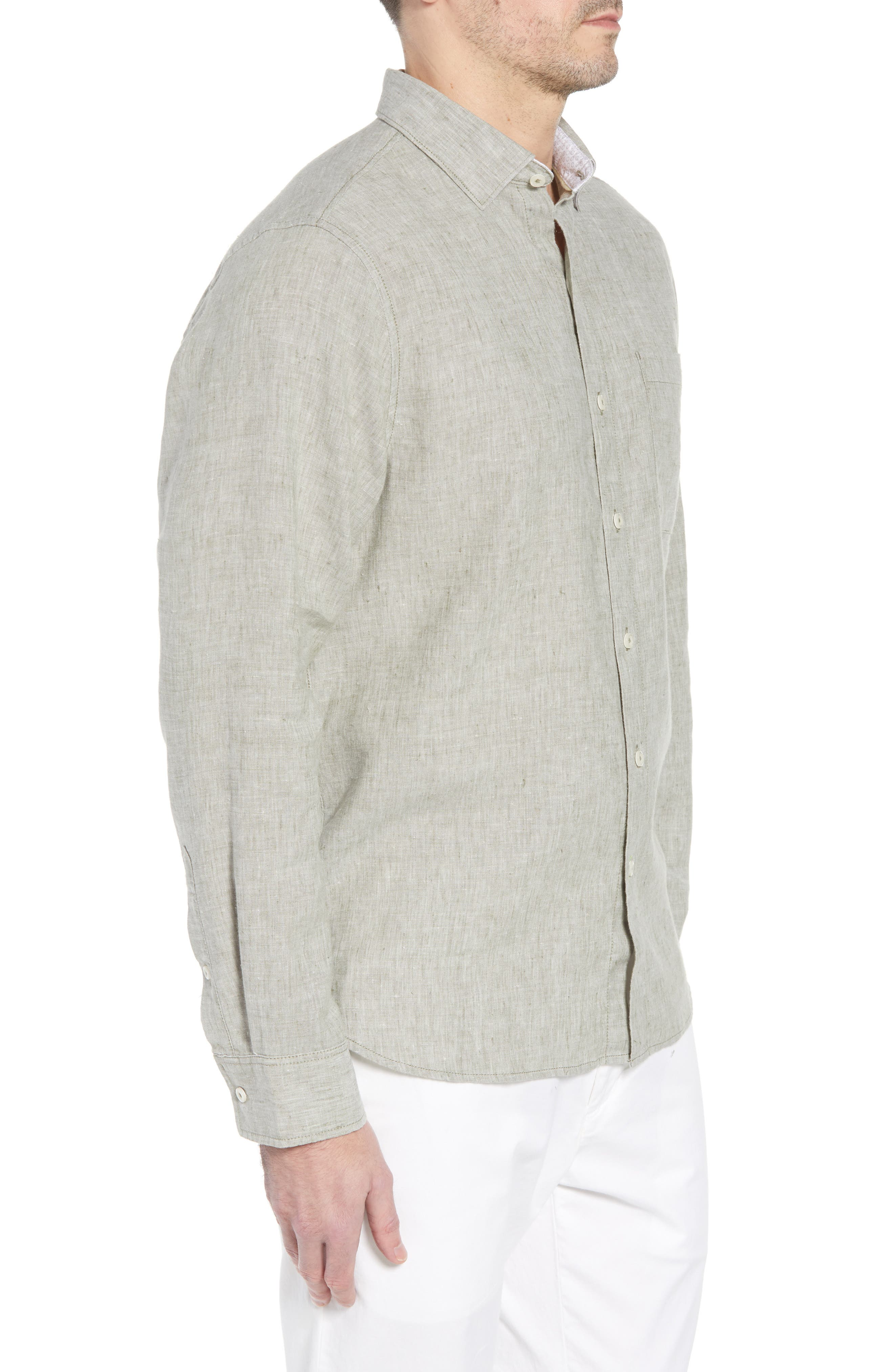 Alternate Image 3  - Tommy Bahama Lanai Tides Regular Fit Linen Blend Sport Shirt