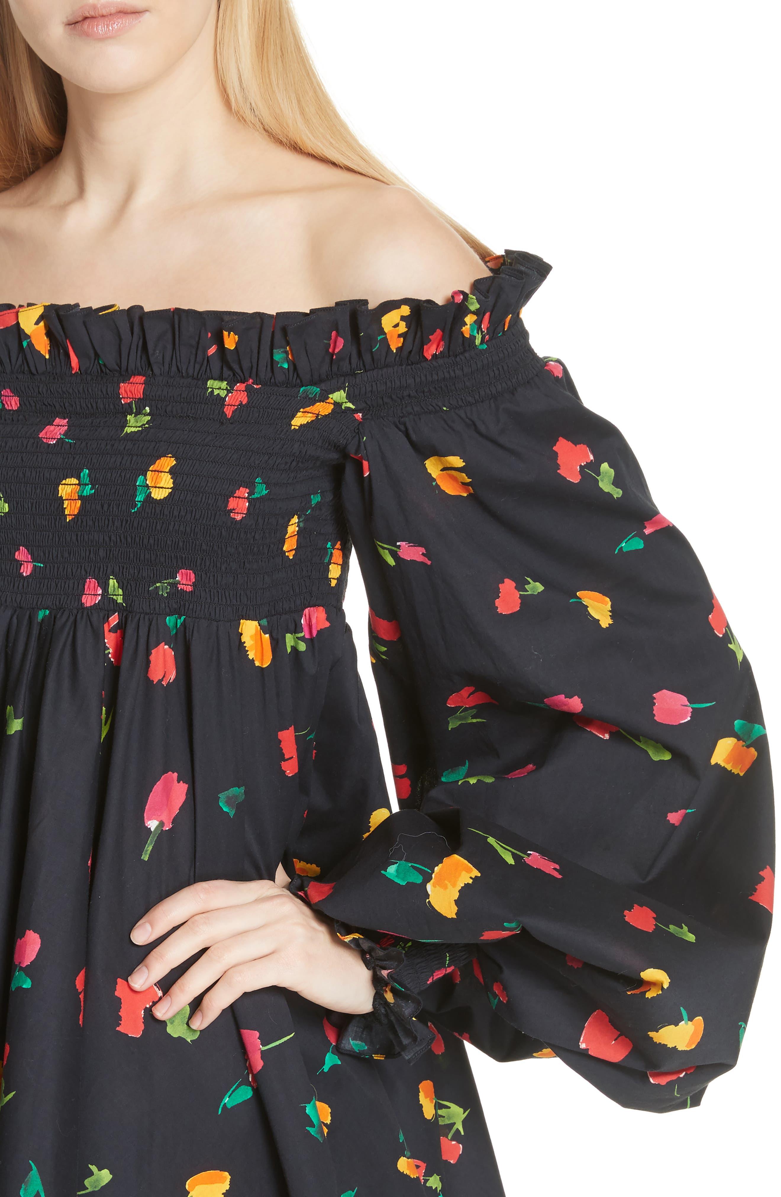 Kora Off the Shoulder Dress,                             Alternate thumbnail 4, color,                             Black