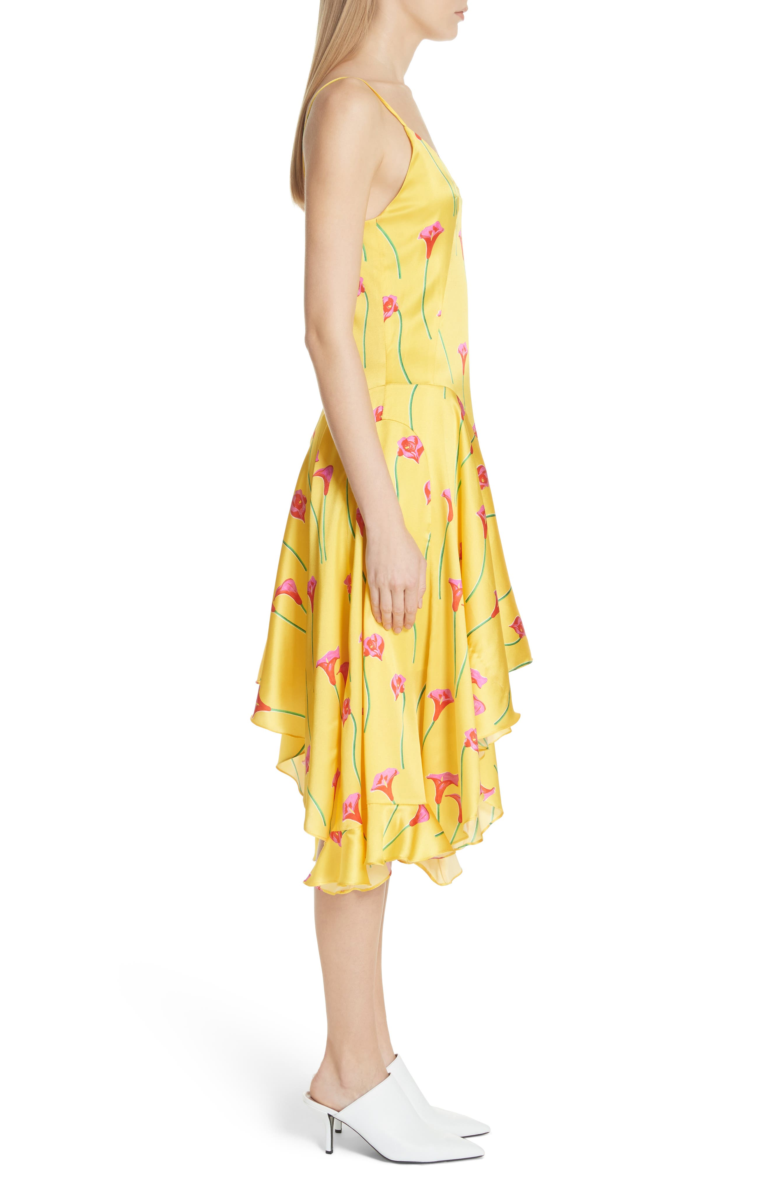 Marie Stretch Silk Slipdress,                             Alternate thumbnail 3, color,                             Yellow