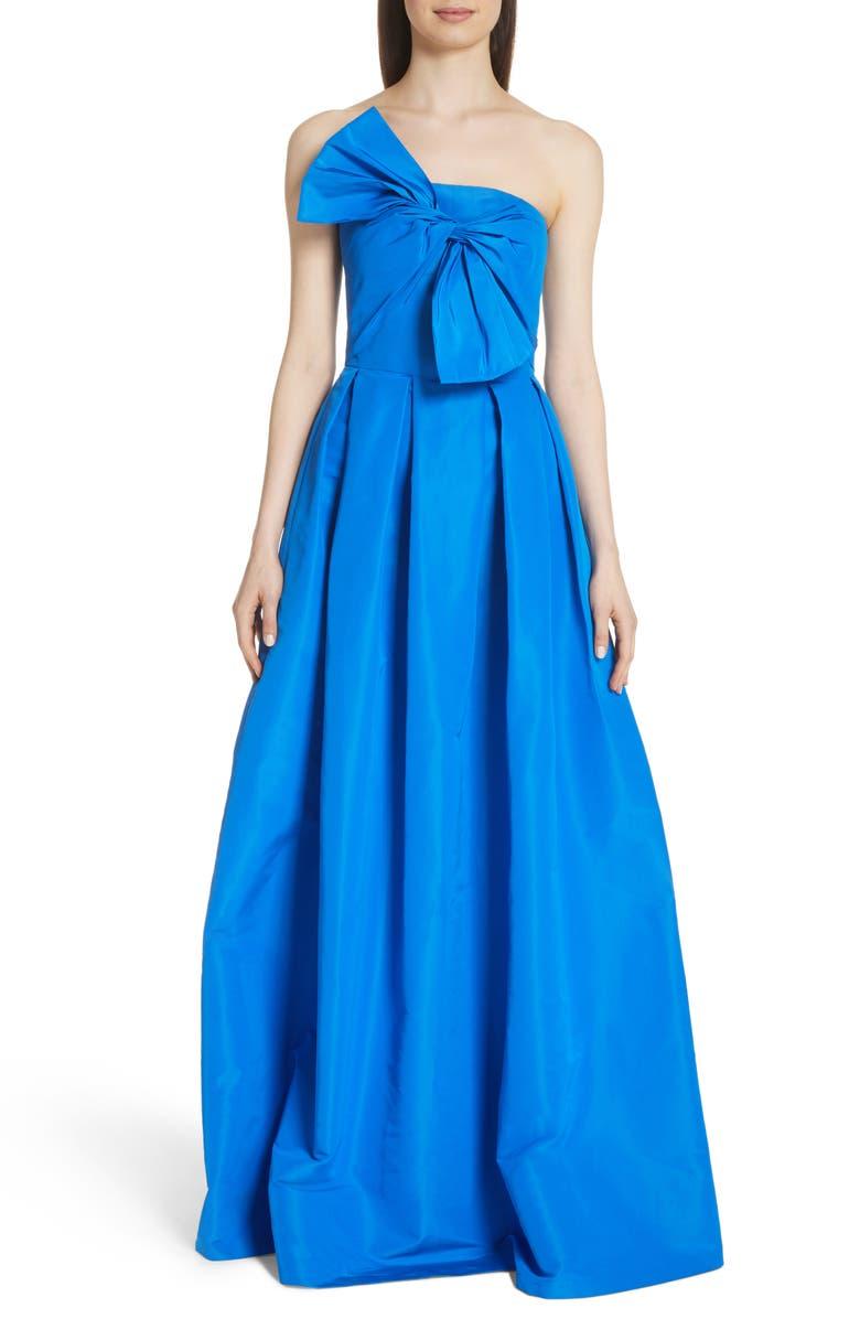 Bow Front Strapless Silk Ballgown