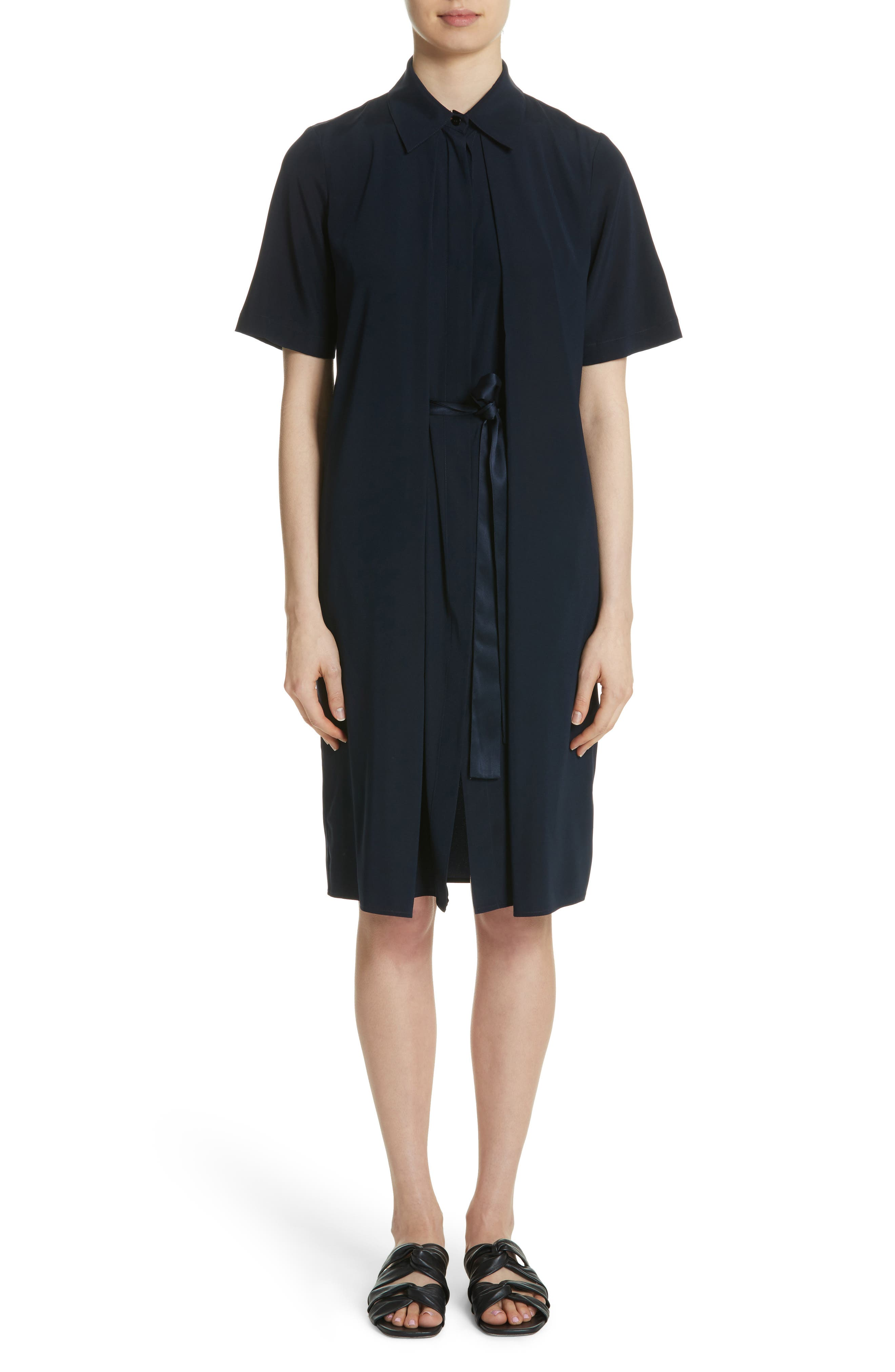 Rosetta Getty Split Front Stretch Silk Dress