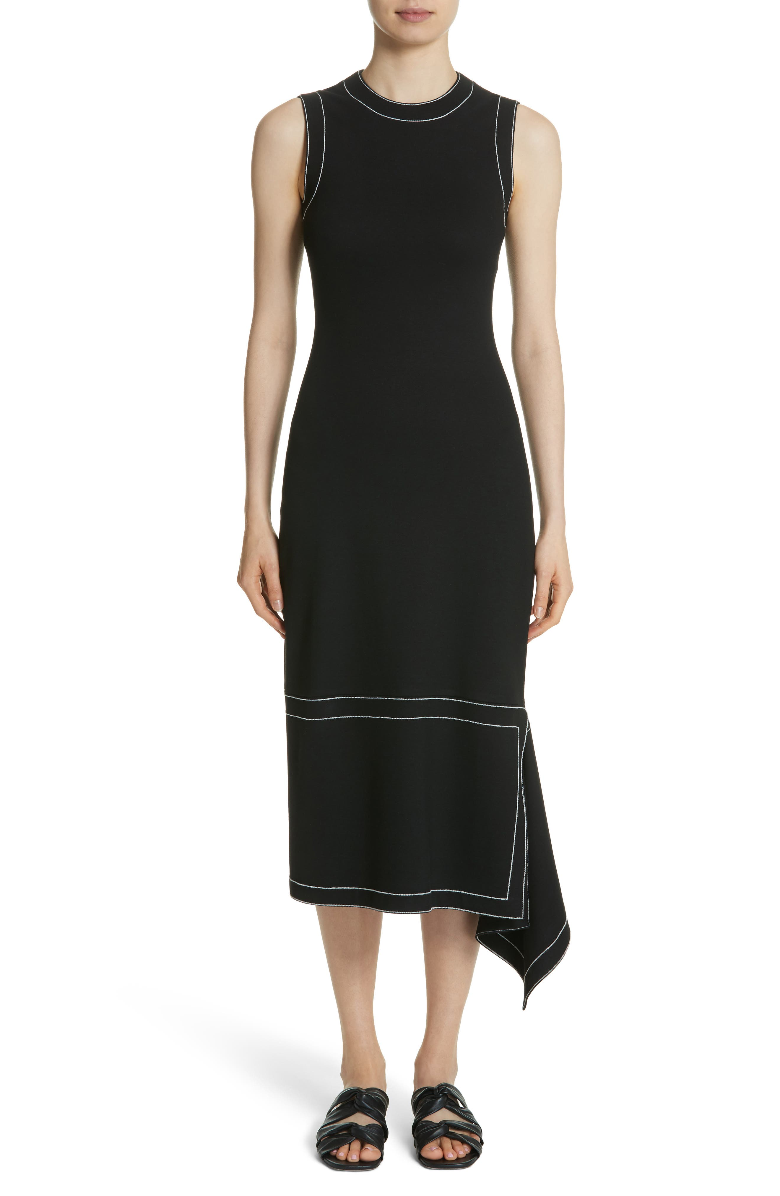 Rosetta Getta Asymmetrical Contrast Stitch Dress