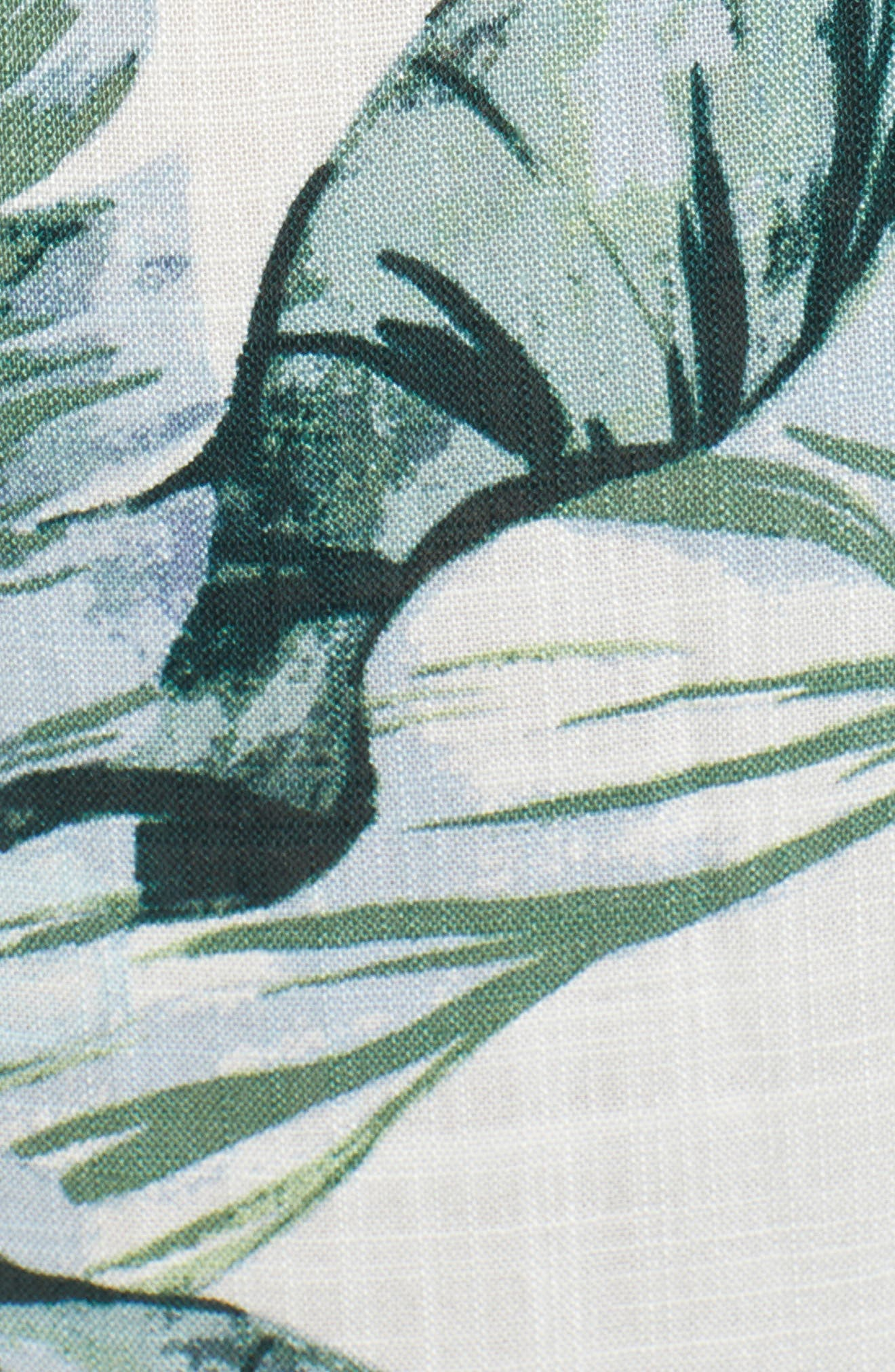 Palm Print Fringe Hem Maxi Dress,                             Alternate thumbnail 7, color,                             Multi