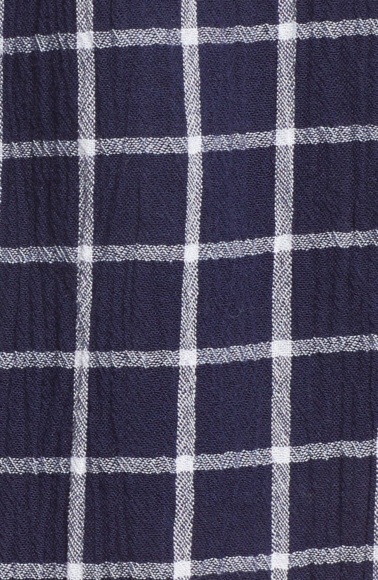 Plaid Paper Bag Waist Shorts,                             Alternate thumbnail 6, color,                             Navy Peacoat Tokyo Check