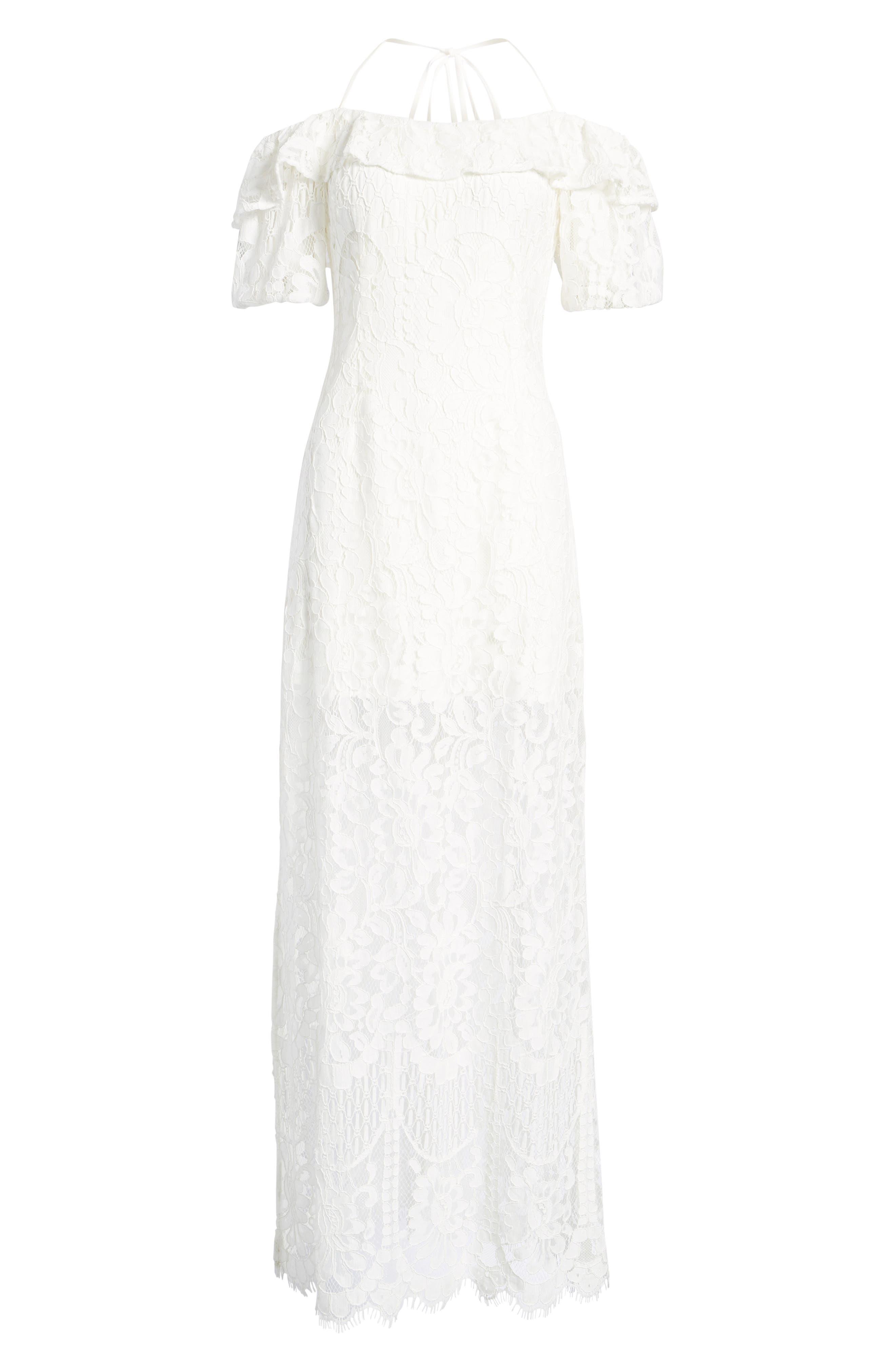 Tasha Off the Shoulder Halter Maxi Dress,                             Alternate thumbnail 6, color,                             Ivory