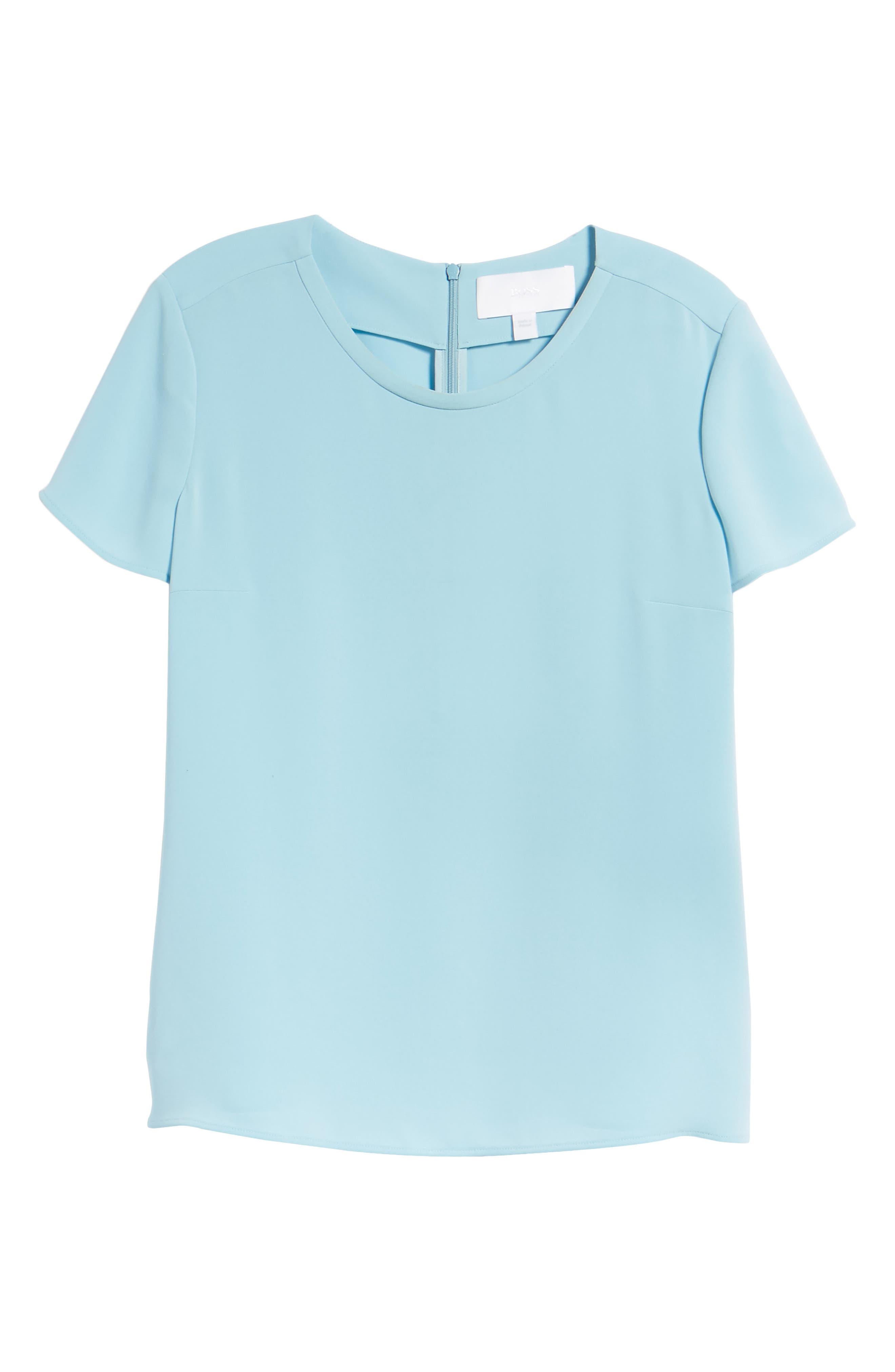 Ilyna Crepe Short Sleeve Top,                             Alternate thumbnail 7, color,                             Lagoon Blue