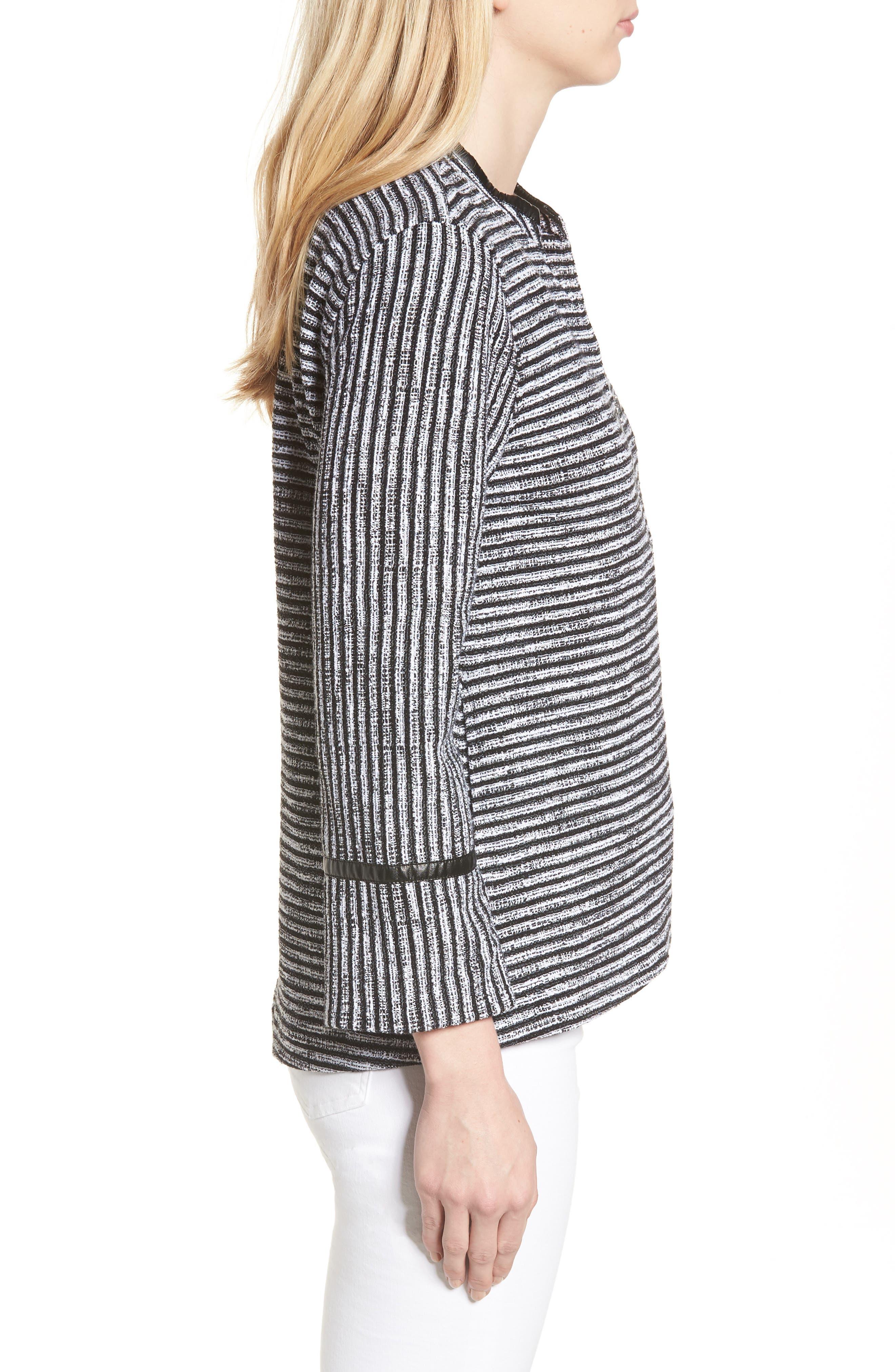 Irina Stripe Knit Jacket,                             Alternate thumbnail 3, color,                             Ivory/ Black
