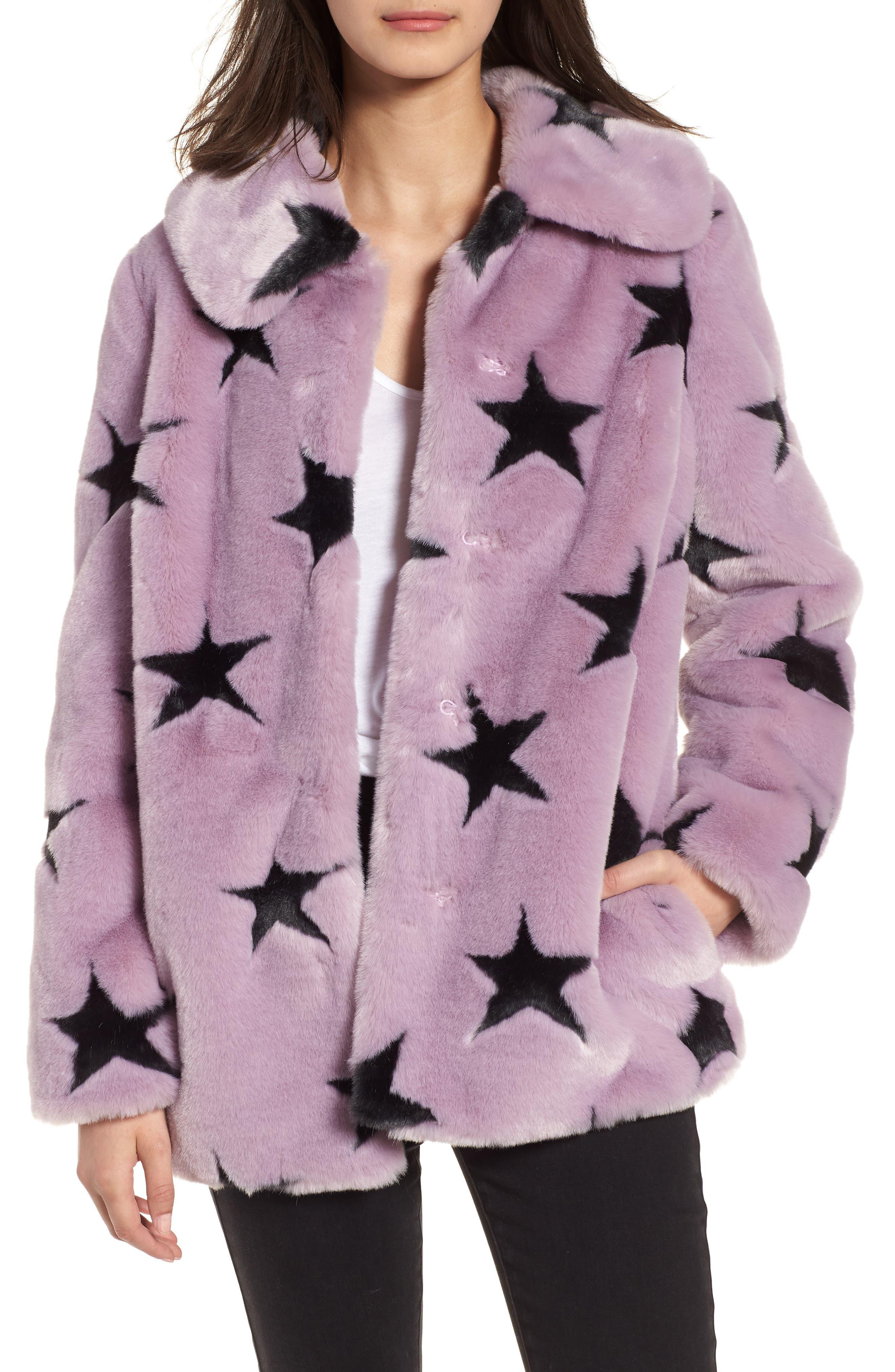 Faux Fur Swing Coat,                             Main thumbnail 1, color,                             Lavender/ Grey