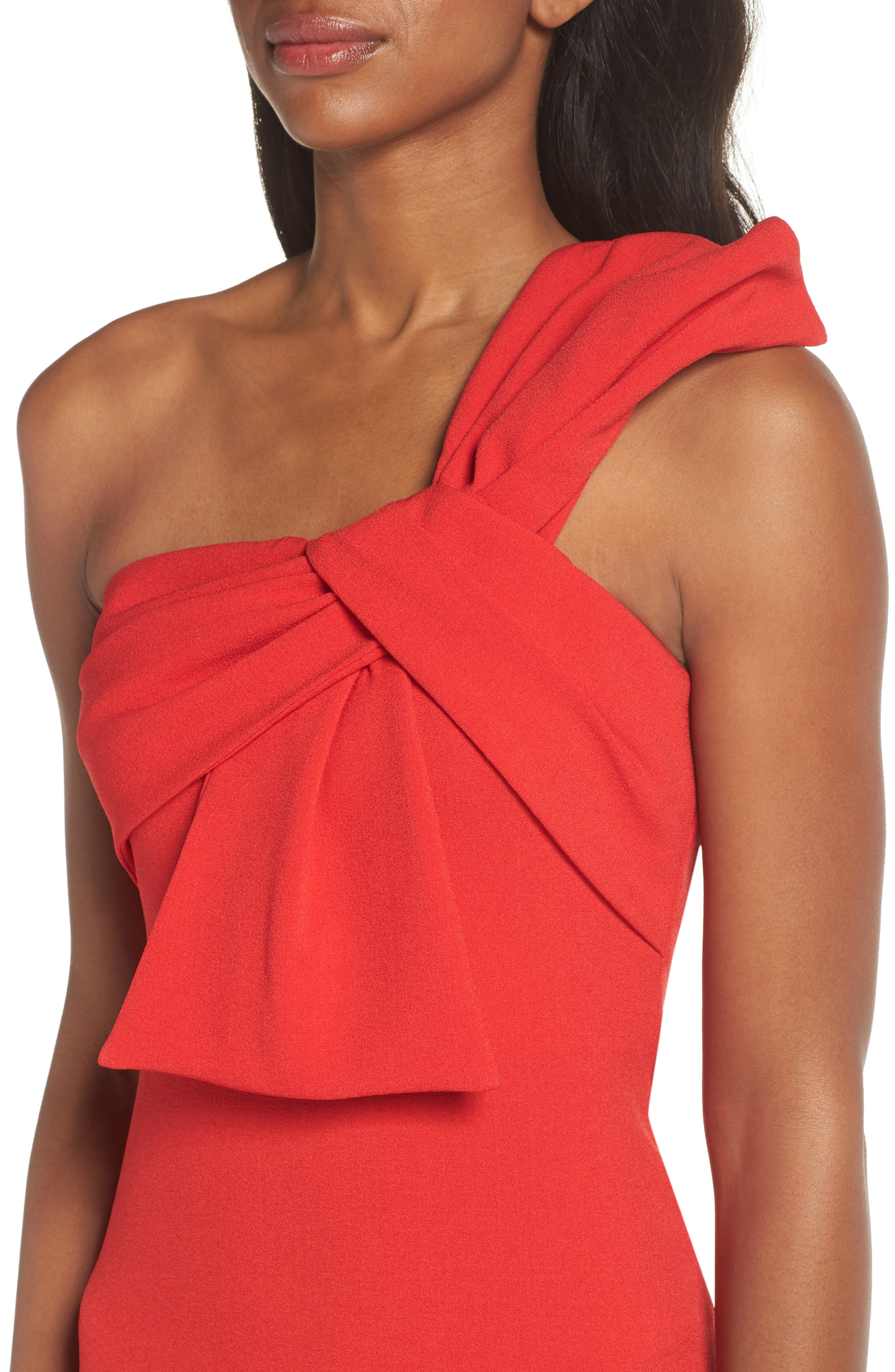 One-Shoulder Twist Front Sheath Dress,                             Alternate thumbnail 4, color,                             Red