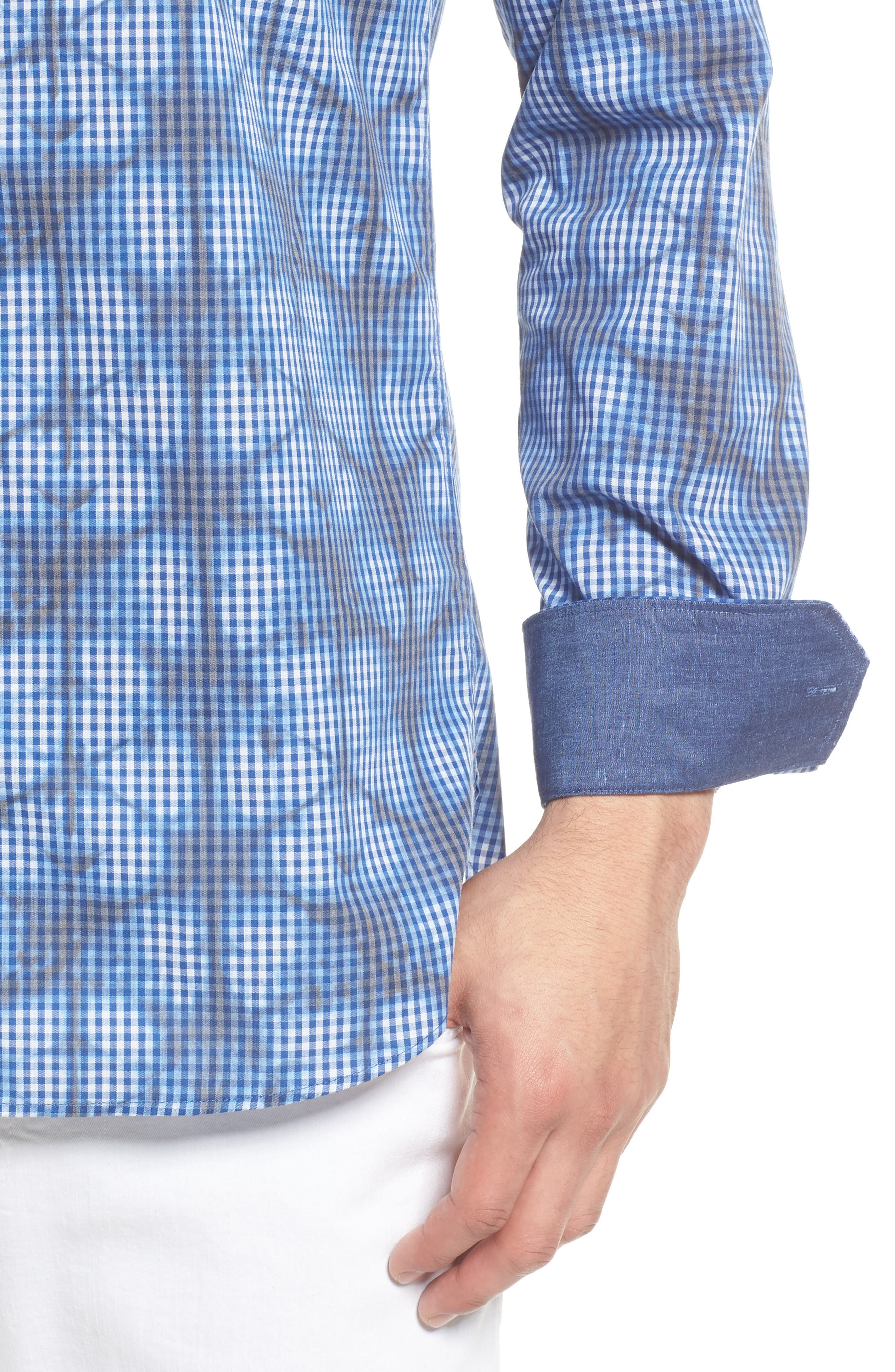 Shaped Fit Abstract Print Sport Shirt,                             Alternate thumbnail 2, color,                             Navy