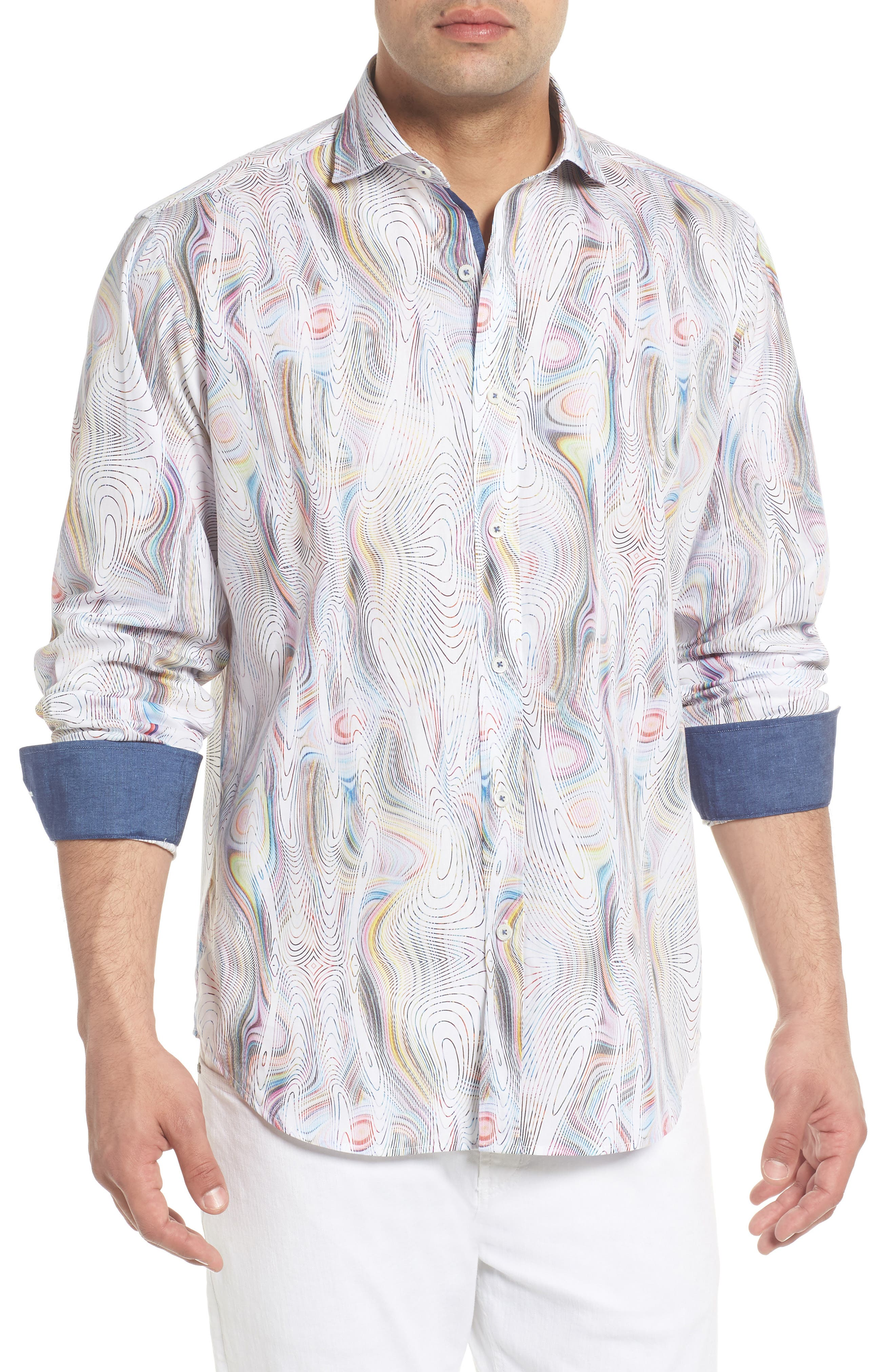 Classic Fit Abstract Print Sport Shirt,                             Main thumbnail 1, color,                             Candy