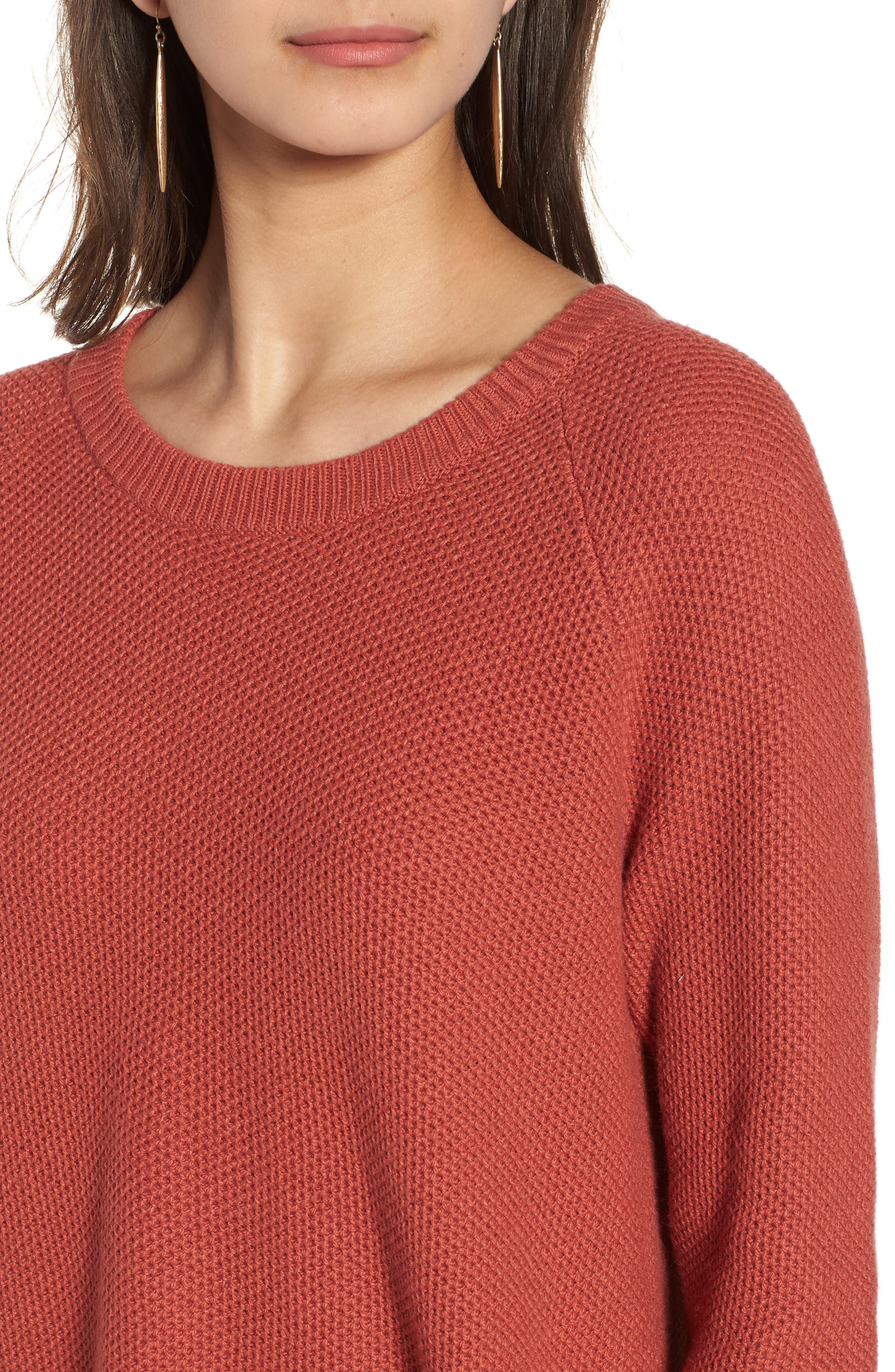 Province Cross Back Knit Pullover,                             Alternate thumbnail 4, color,                             Spiced Rose