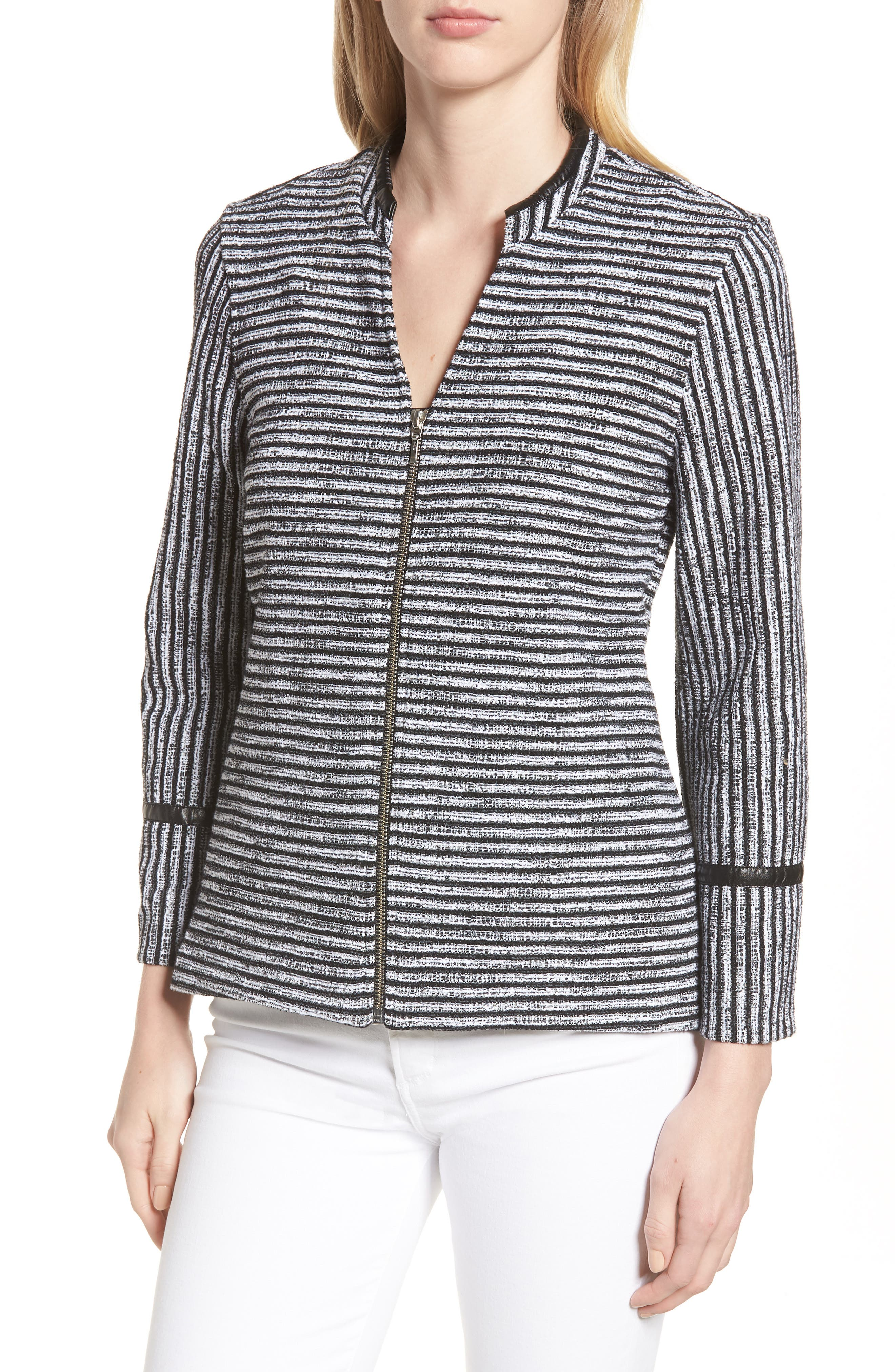 Irina Stripe Knit Jacket,                             Alternate thumbnail 4, color,                             Ivory/ Black