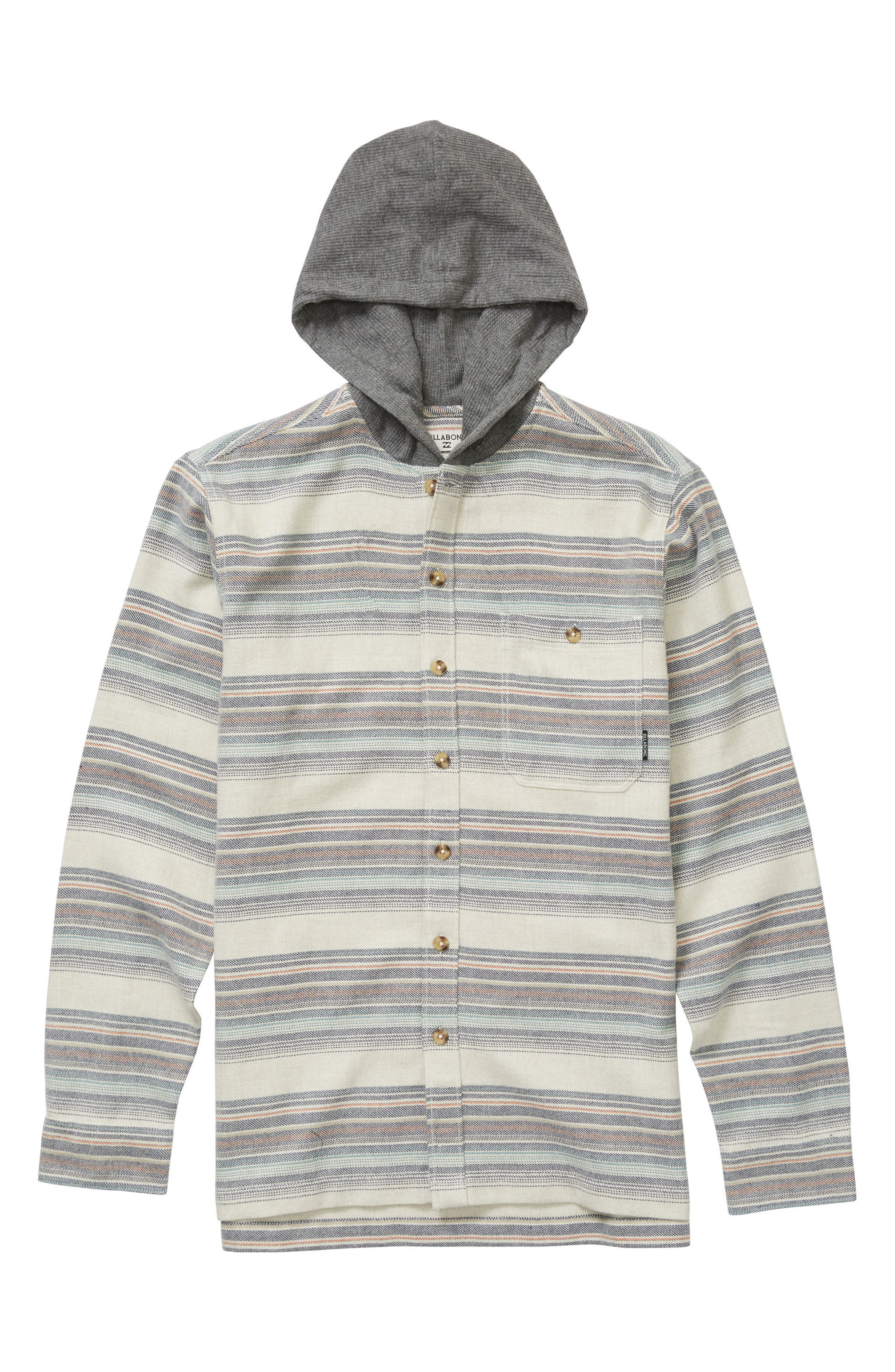Baja Stripe Flannel Hoodie,                             Main thumbnail 1, color,                             Stone Heather