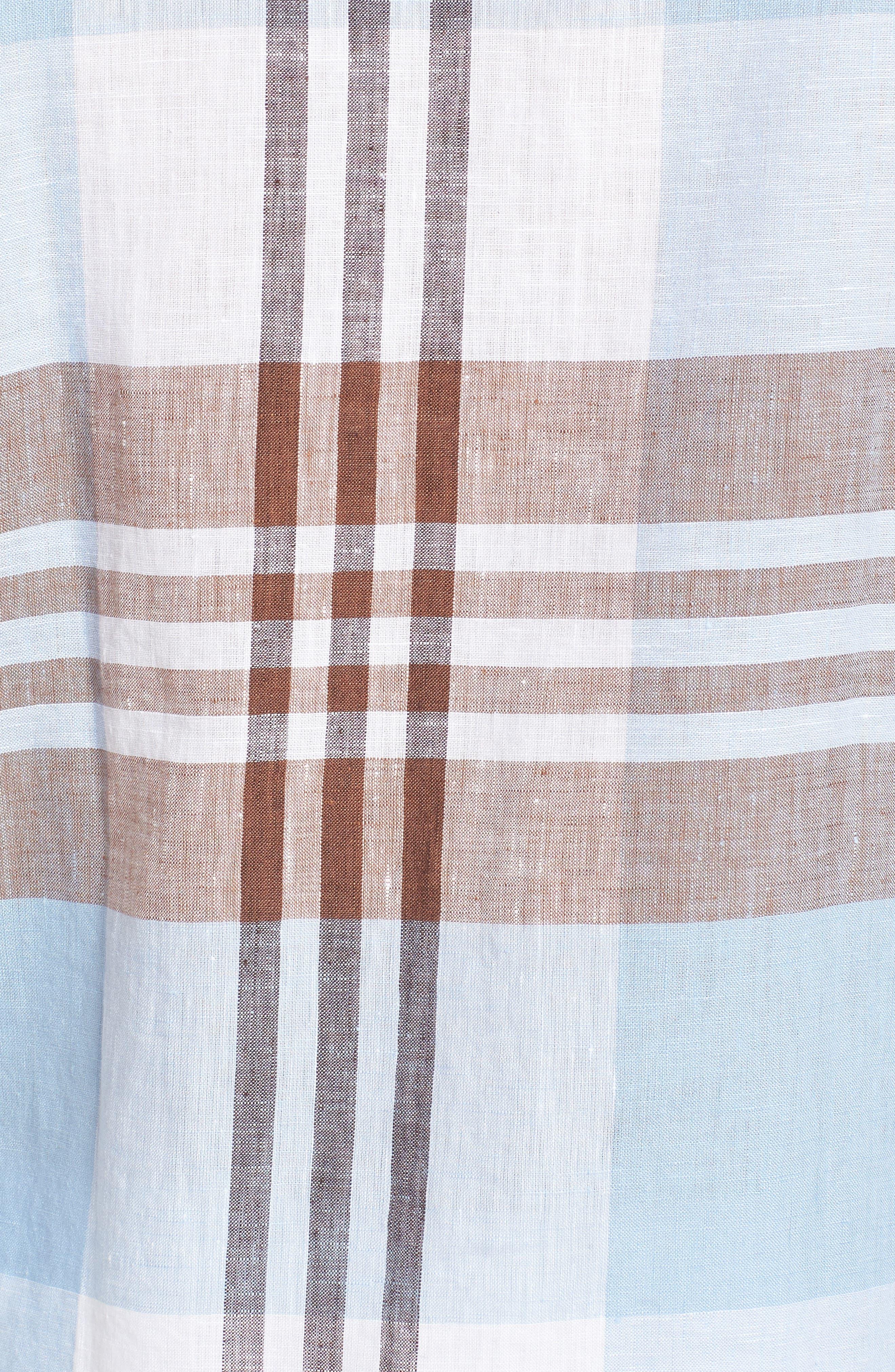 Shaped Fit Plaid Linen Blend Sport Shirt,                             Alternate thumbnail 5, color,                             Mocha