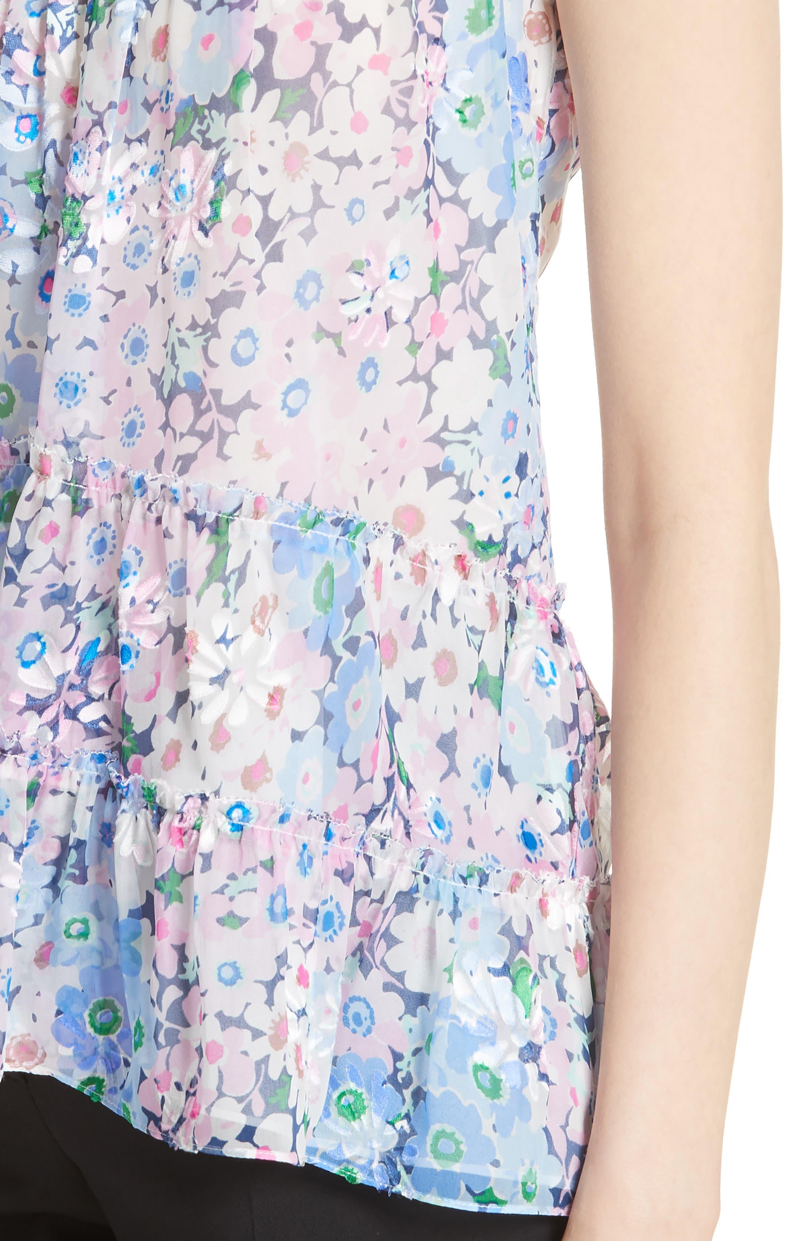 daisy garden devore silk blend top,                             Alternate thumbnail 4, color,                             Multi