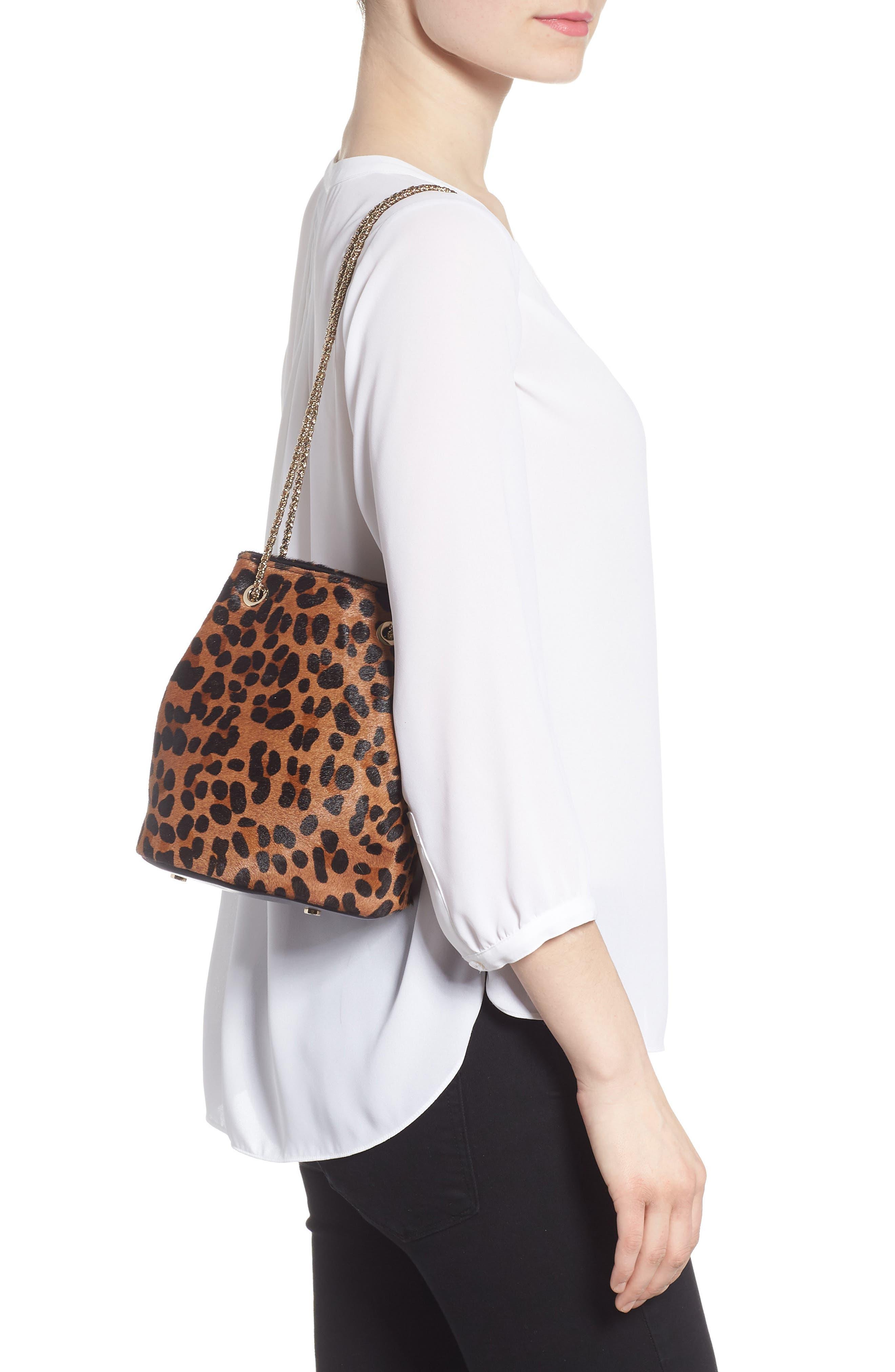 Hope Genuine Calf Hair Bucket Bag,                             Alternate thumbnail 2, color,                             Leaopard/ Maroquinerie