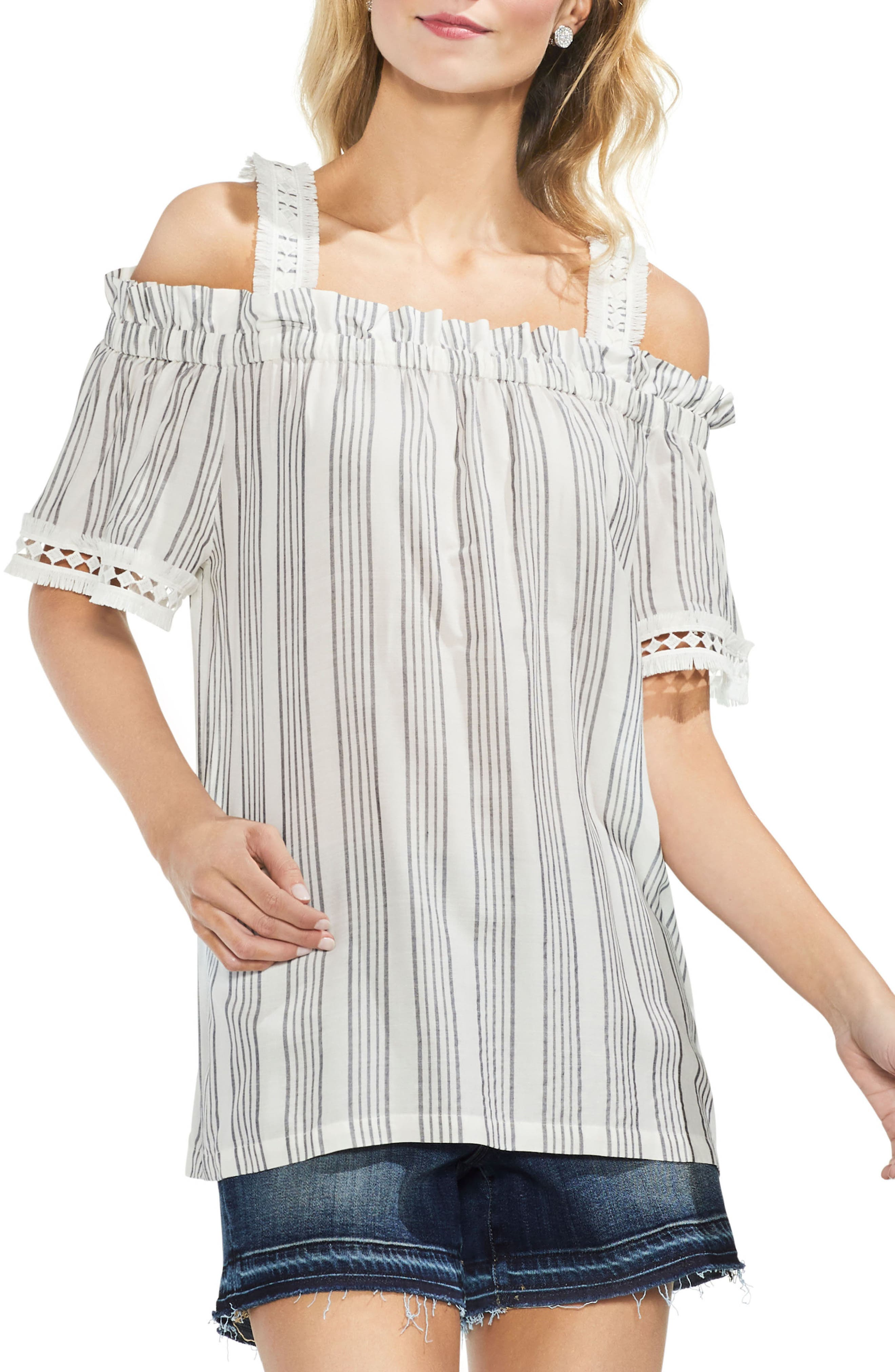 Cold Shoulder Striped Top,                             Main thumbnail 1, color,                             New Ivory