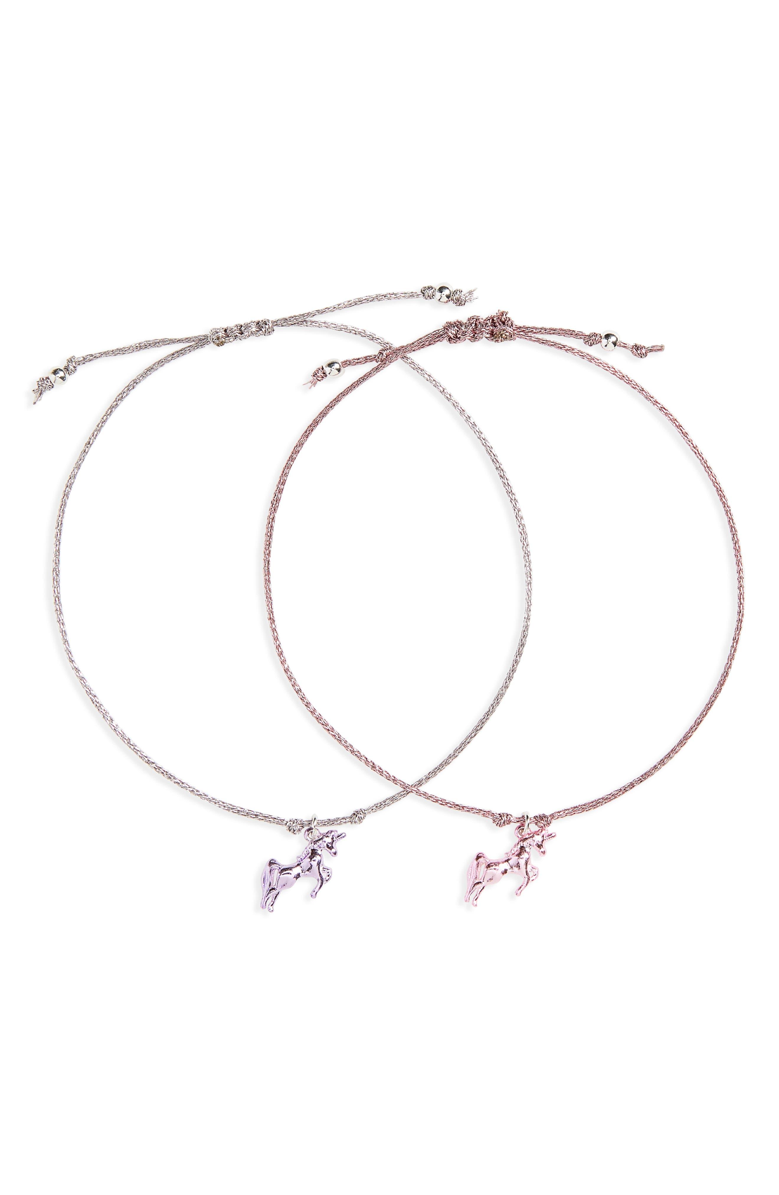 Set of 2 Unicorn Bracelets,                             Main thumbnail 1, color,                             Pastel Multi