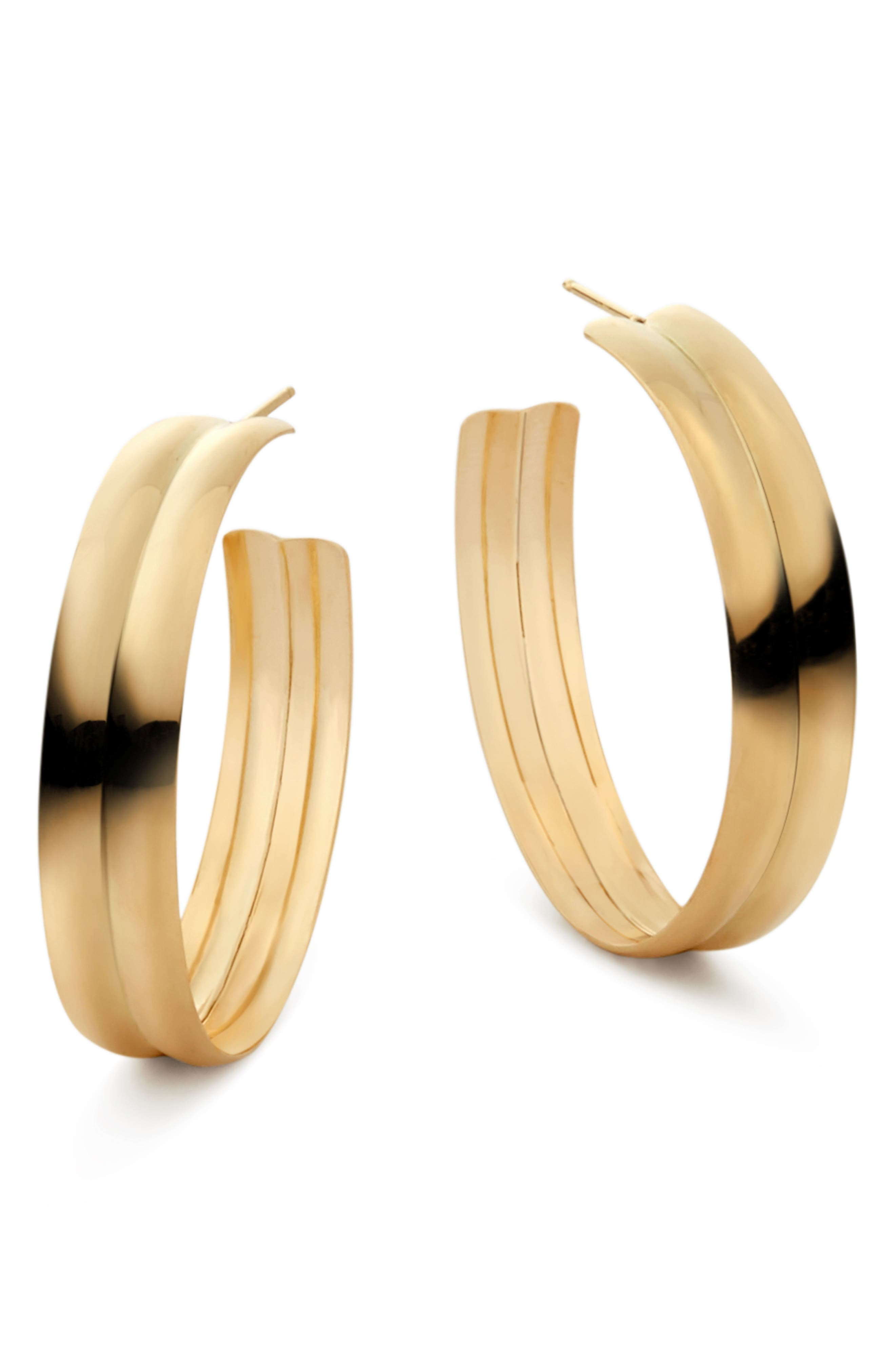 Double Curve Wide Hoop Earrings,                             Main thumbnail 1, color,                             Yellow Gold