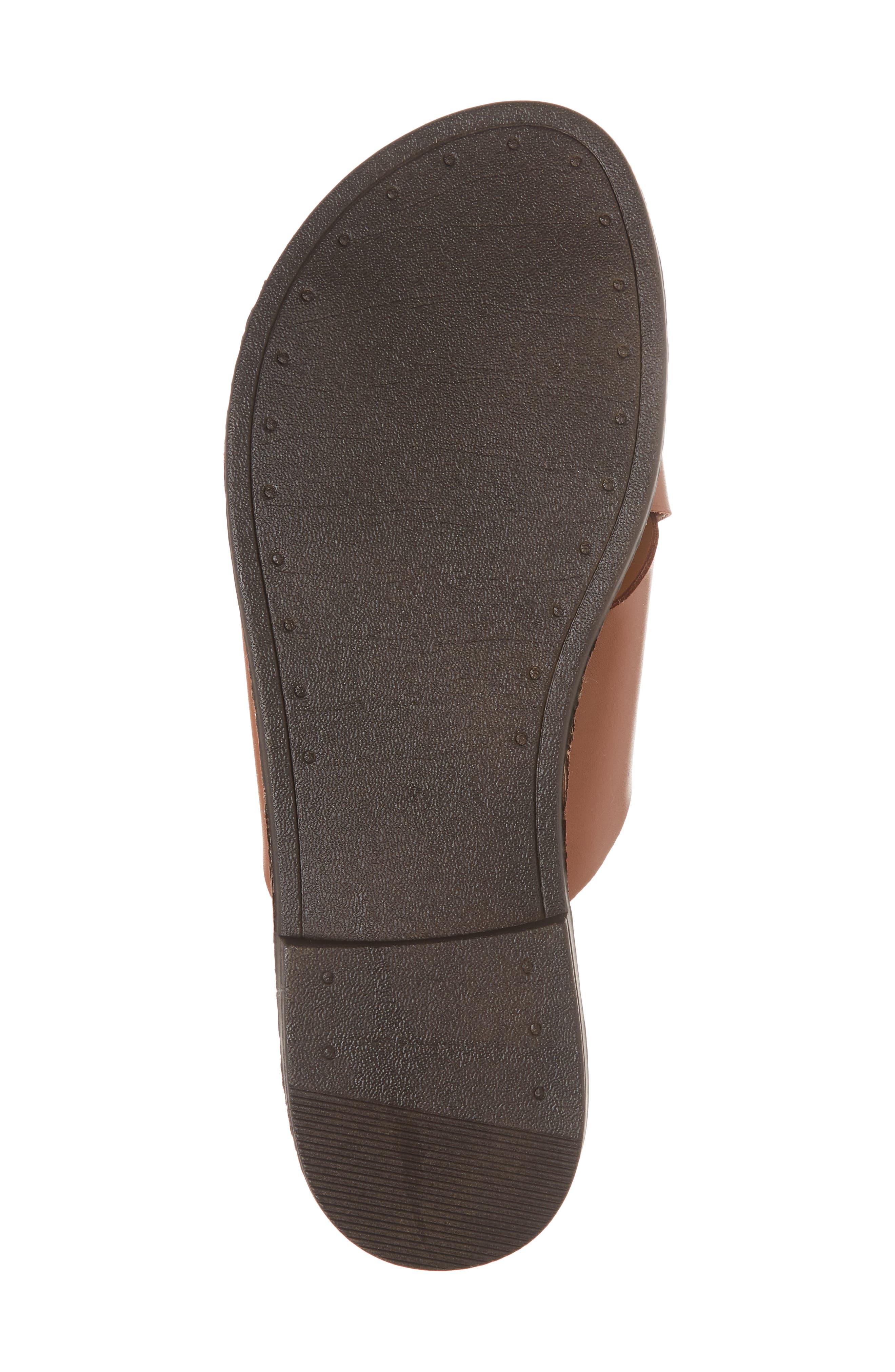 Twist Cross Strap Sandal,                             Alternate thumbnail 6, color,                             Cognac Faux Leather