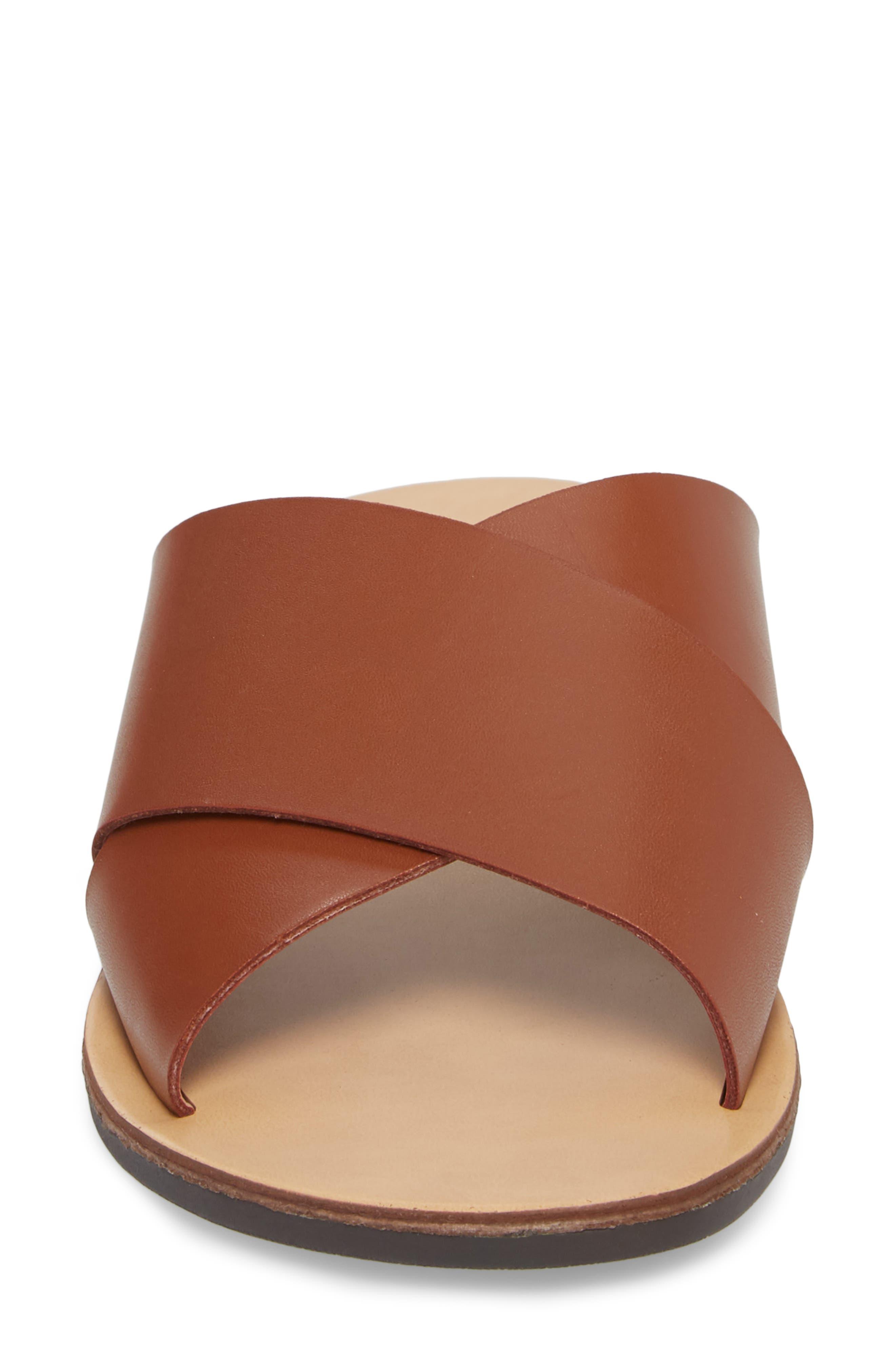 Twist Cross Strap Sandal,                             Alternate thumbnail 4, color,                             Cognac Faux Leather