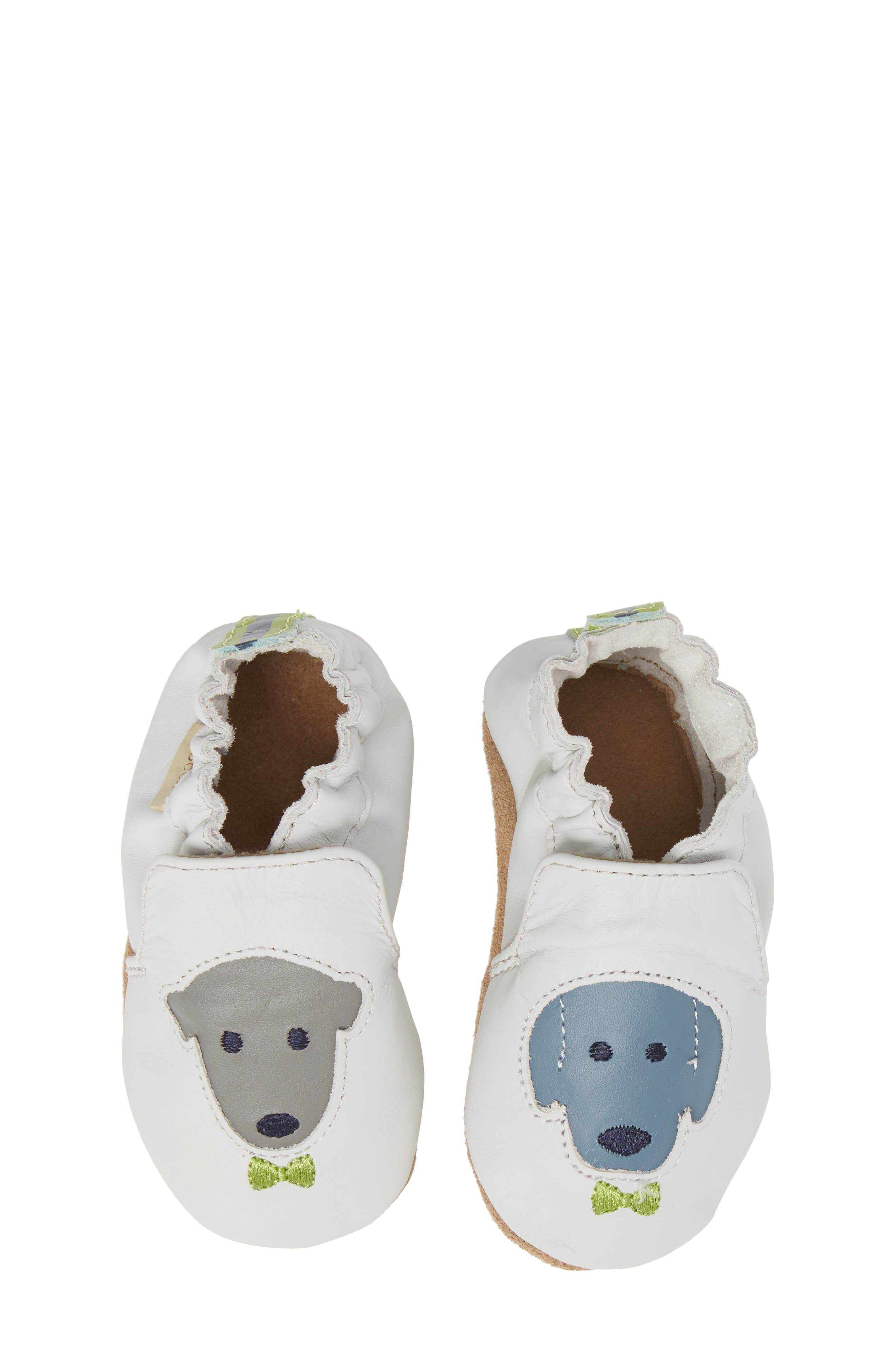 Dog Buddies Moccasin Crib Shoe,                             Main thumbnail 1, color,                             Light Grey