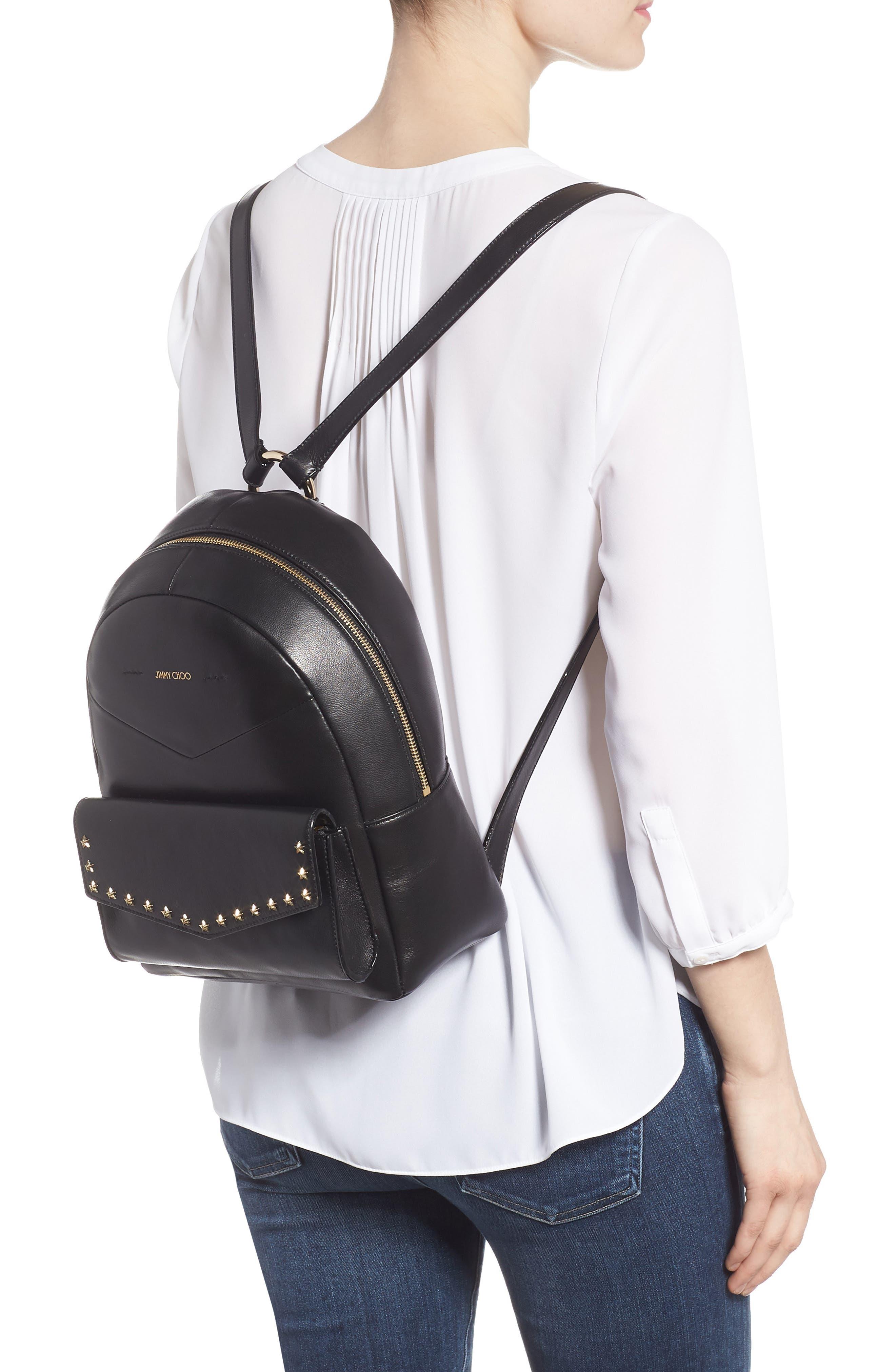 Cassie Star Studded Lambskin Leather Backpack,                             Alternate thumbnail 2, color,                             Black