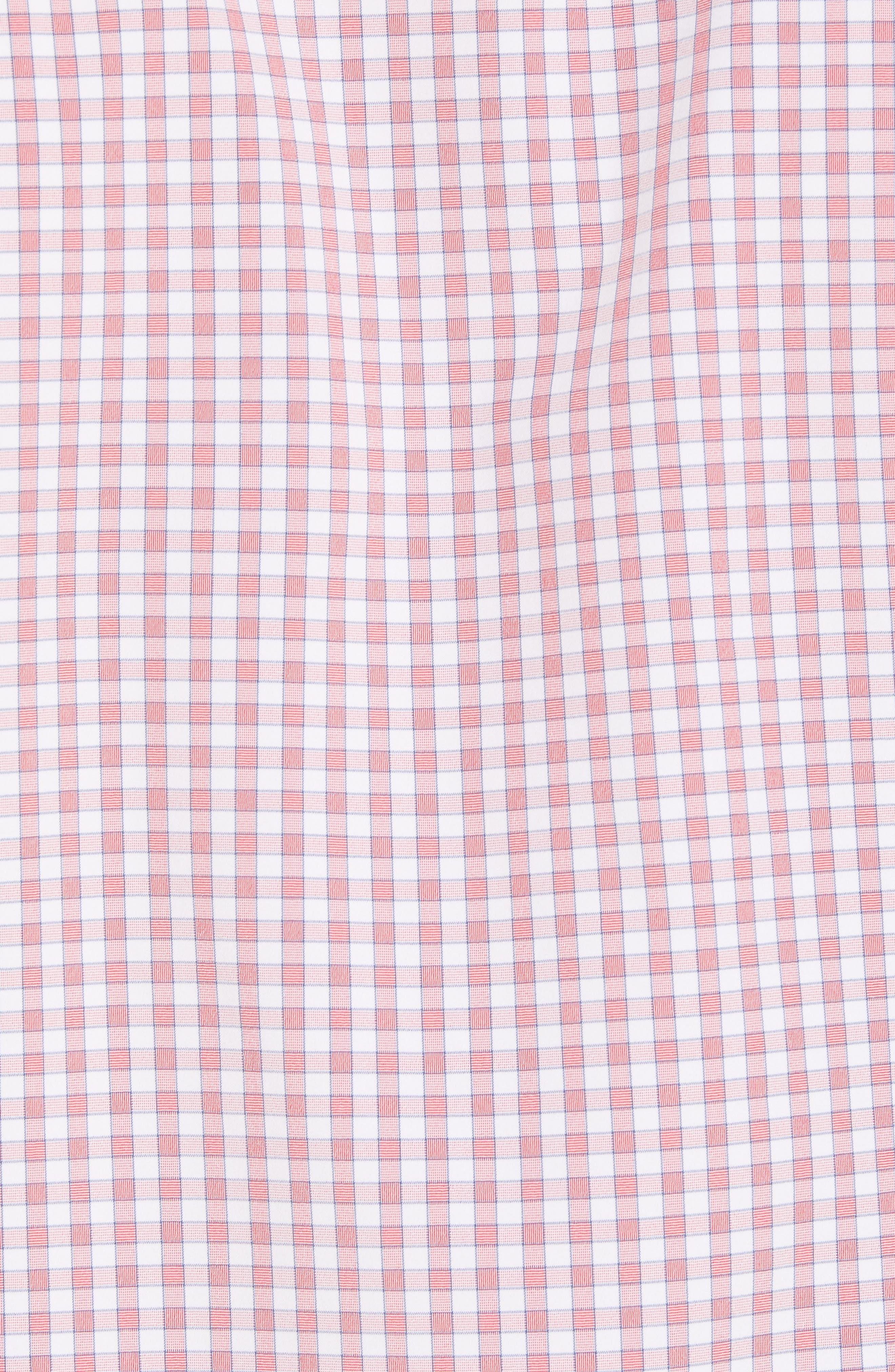 Stark Slim Fit Gingham Performance Sport Shirt,                             Alternate thumbnail 5, color,                             Red