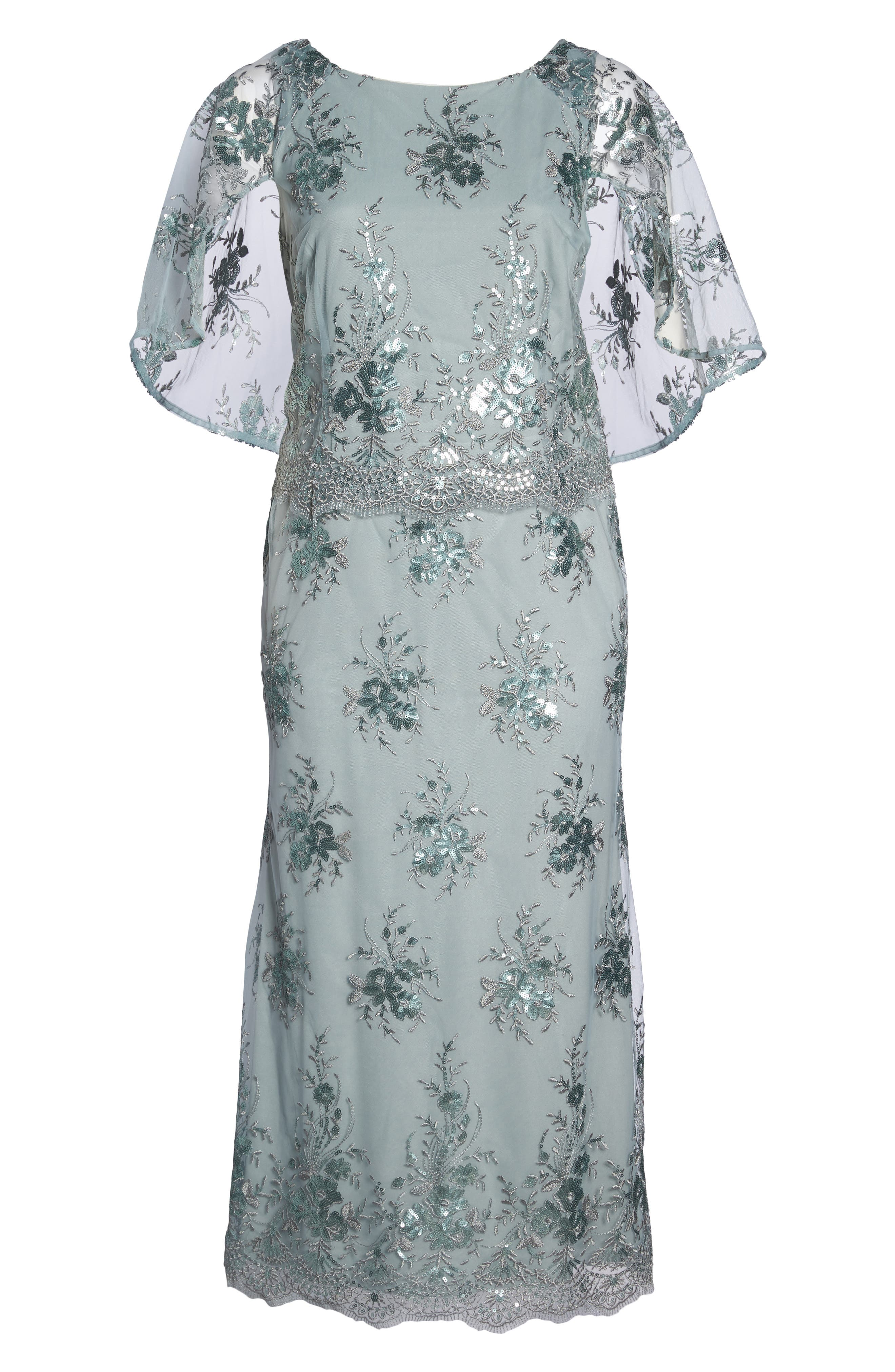 Embellished Capelet Mesh Gown,                             Alternate thumbnail 6, color,                             Seafoam