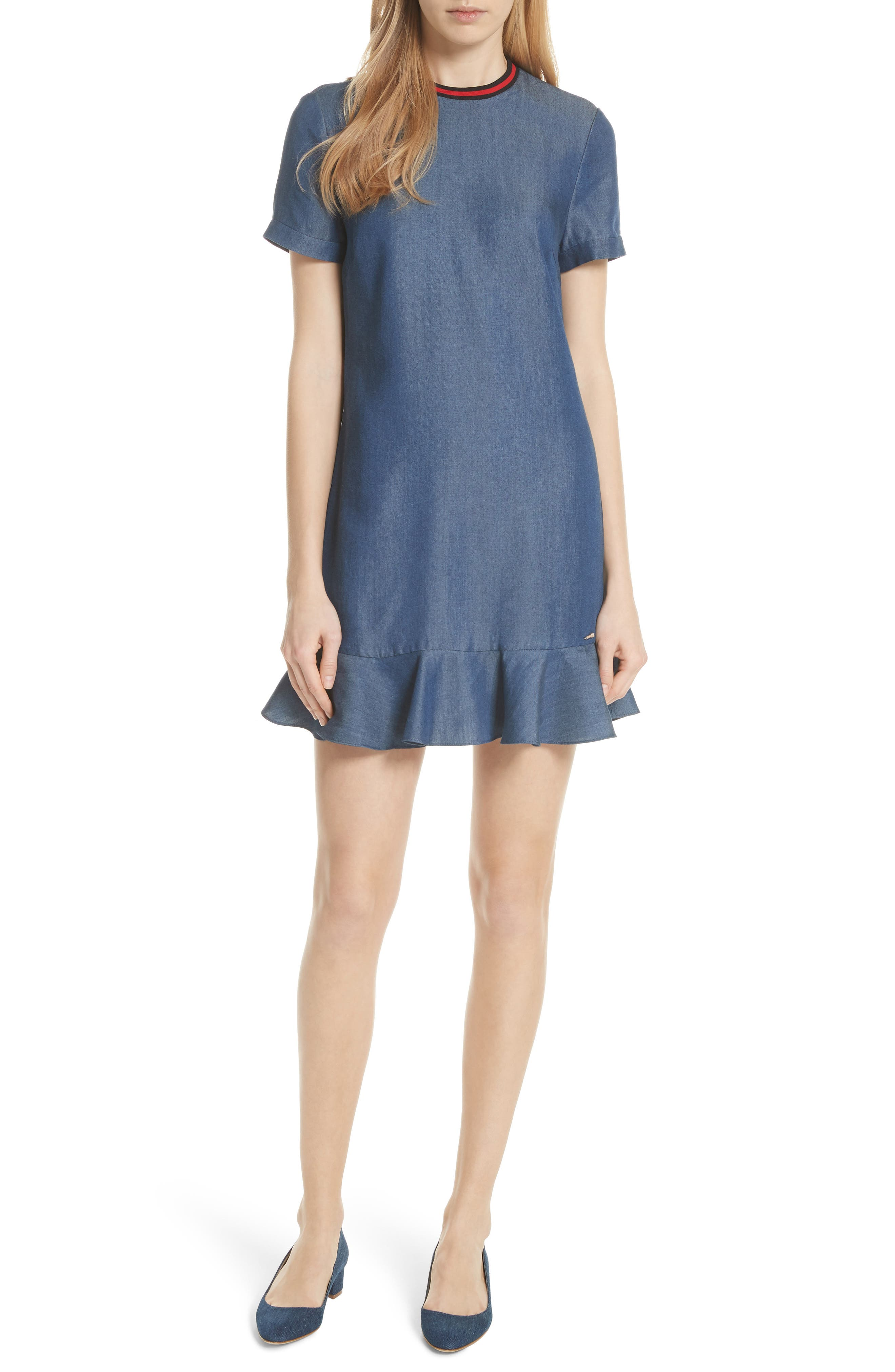 Colour by Numbers Denim Dress,                             Main thumbnail 1, color,                             Mid-Wash